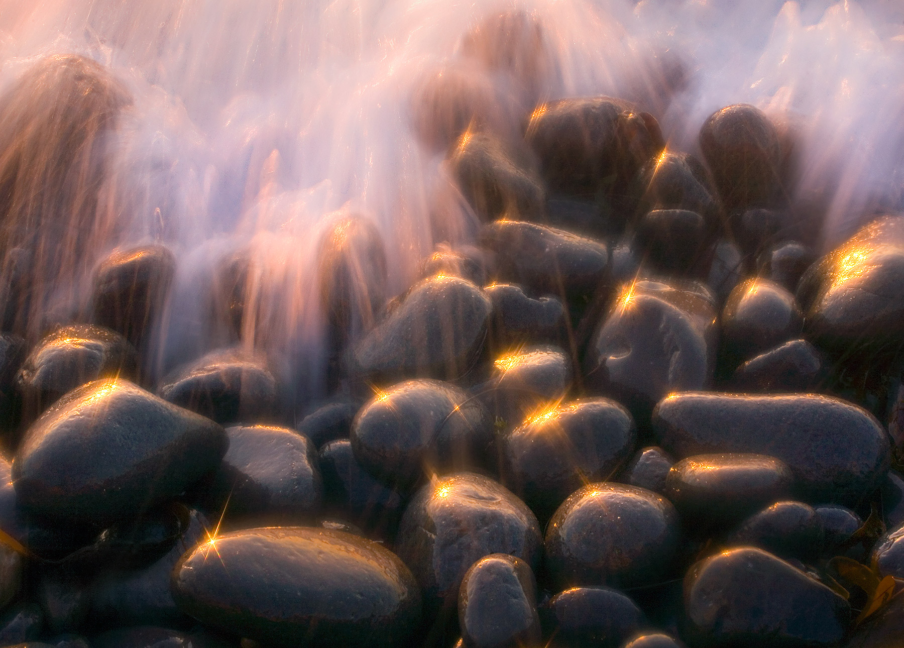 sparkling, light, wave, action, rocks, sunset, oregon, photo