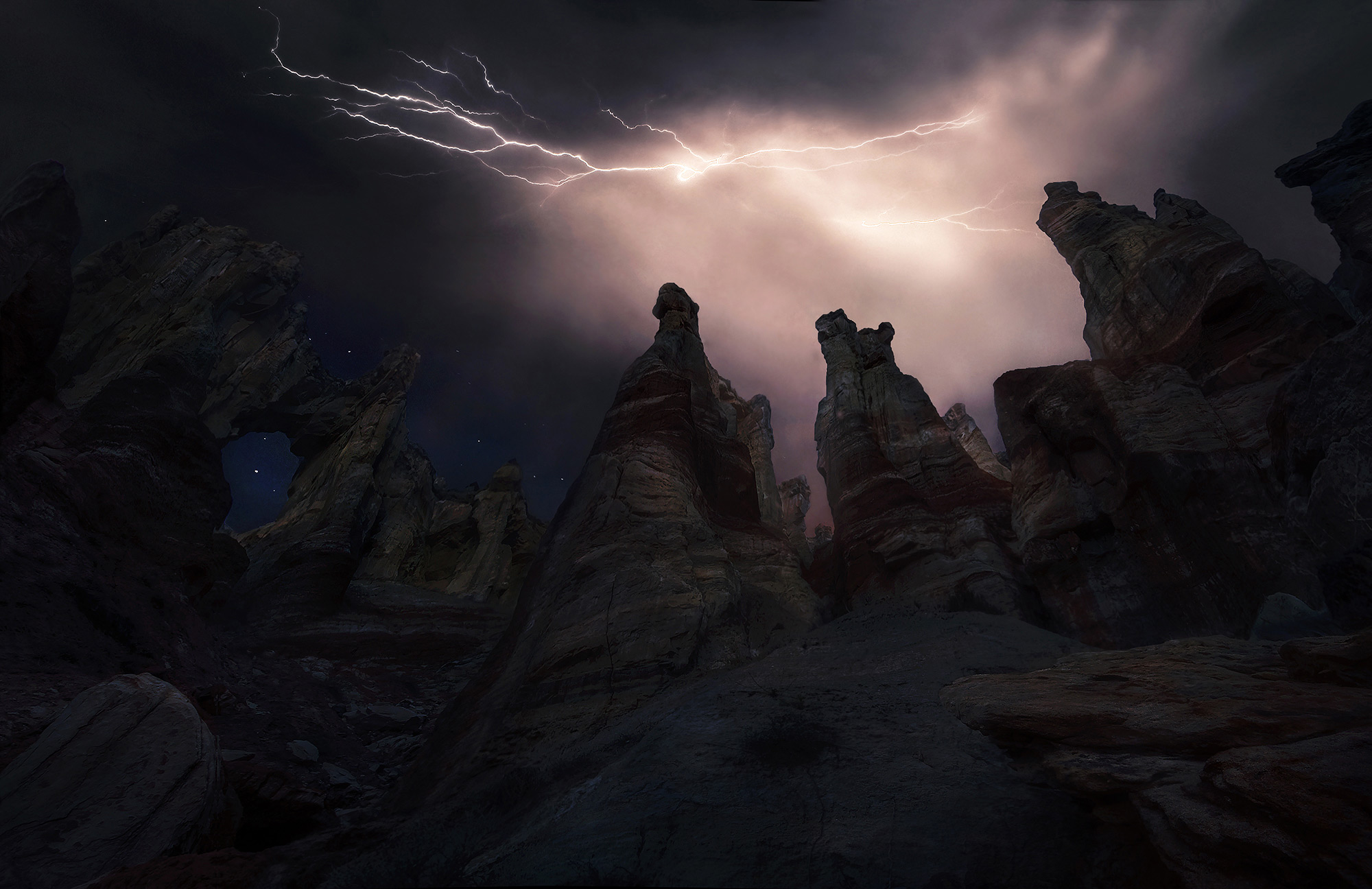 Arizona, Lightning, Storm, Unique, arch, photo