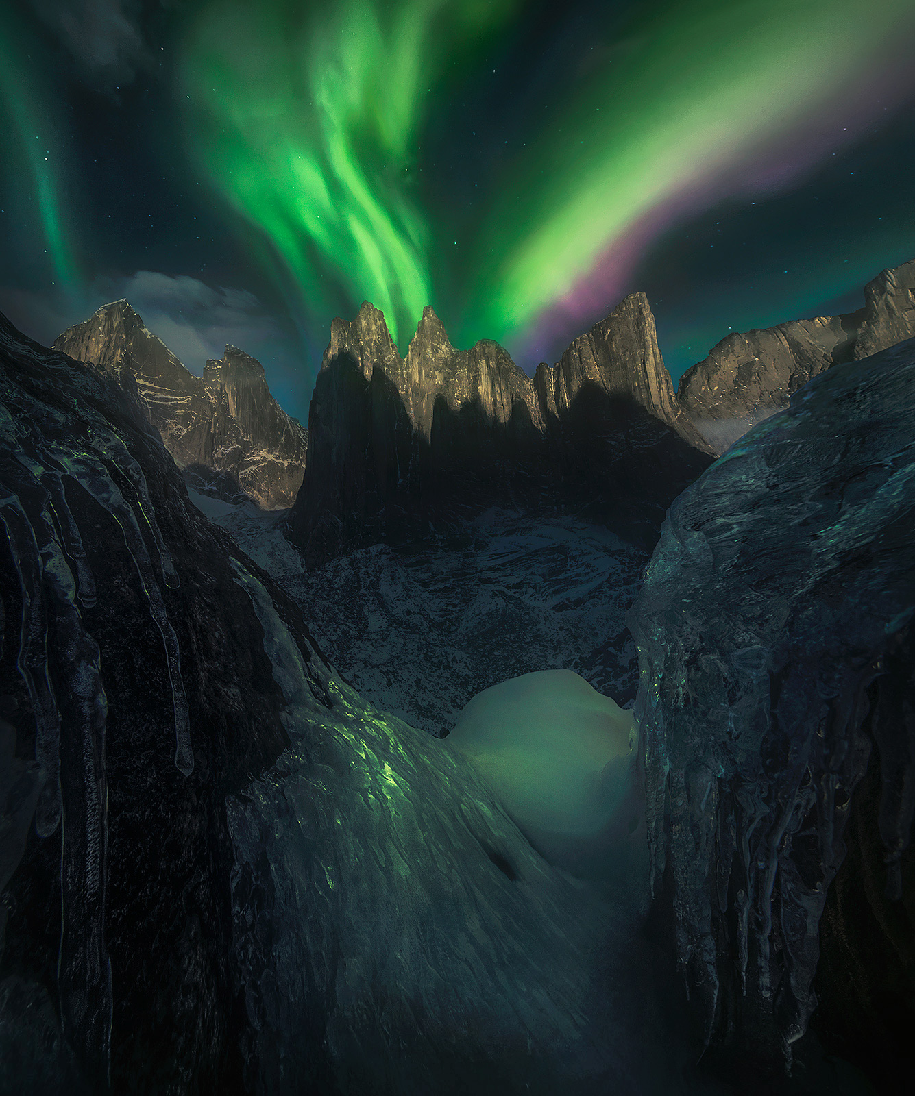 moonlight, aurora, peaks, cliffs, ragged, nahanni, northwest territories, Canada, arctic, photo