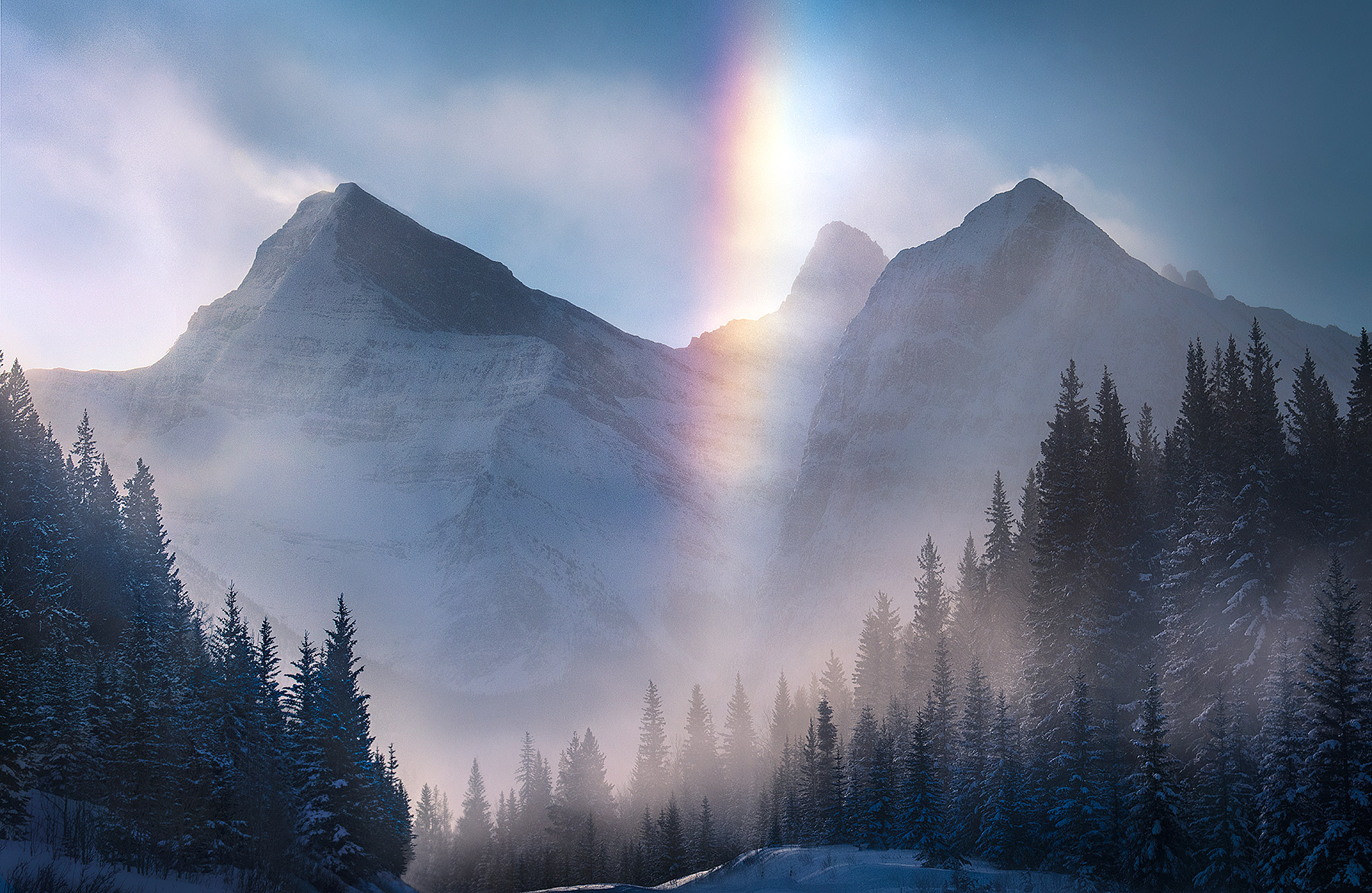 ice bow, ice rainbow, extreme cold, Canadian Rockies, photo