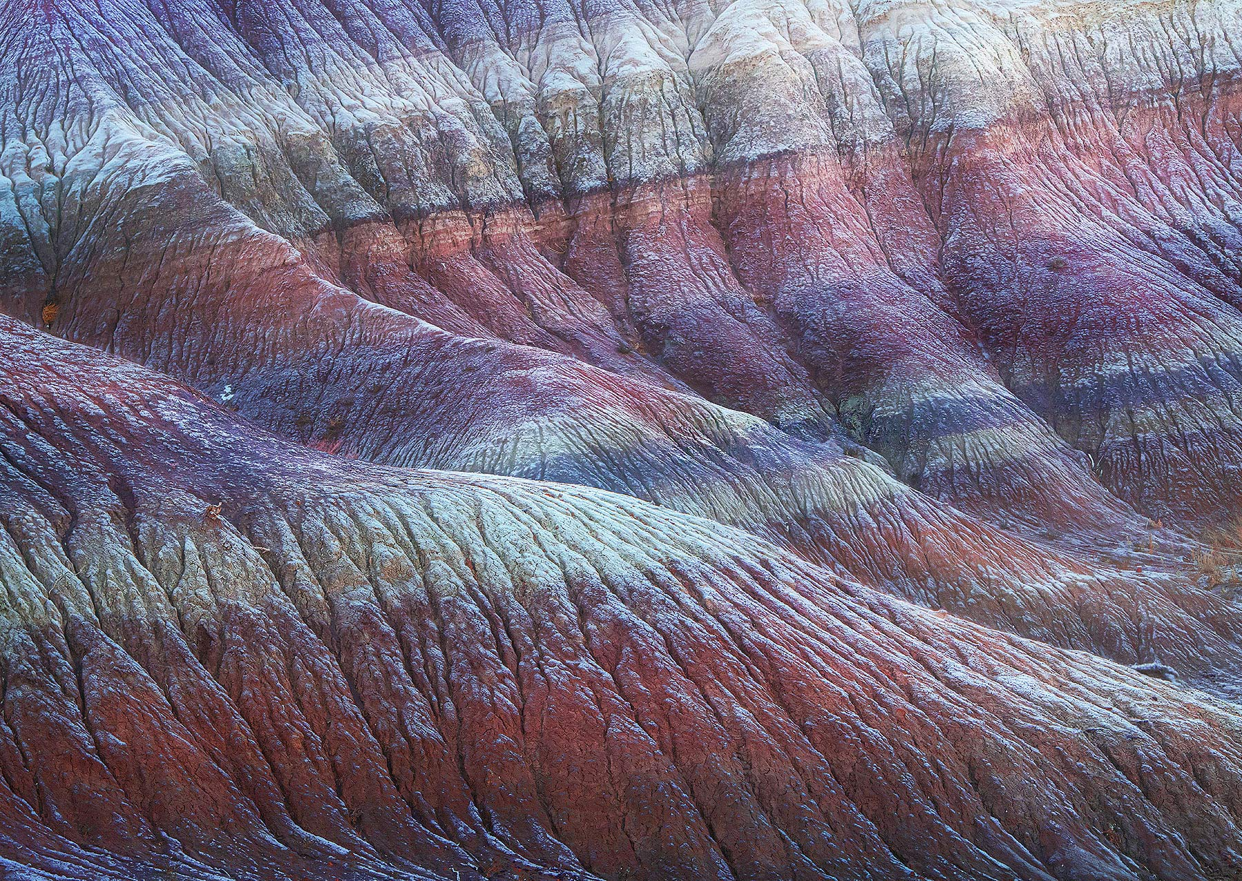 frozen, frost, desert, badlands, stripes, Arizona, photo
