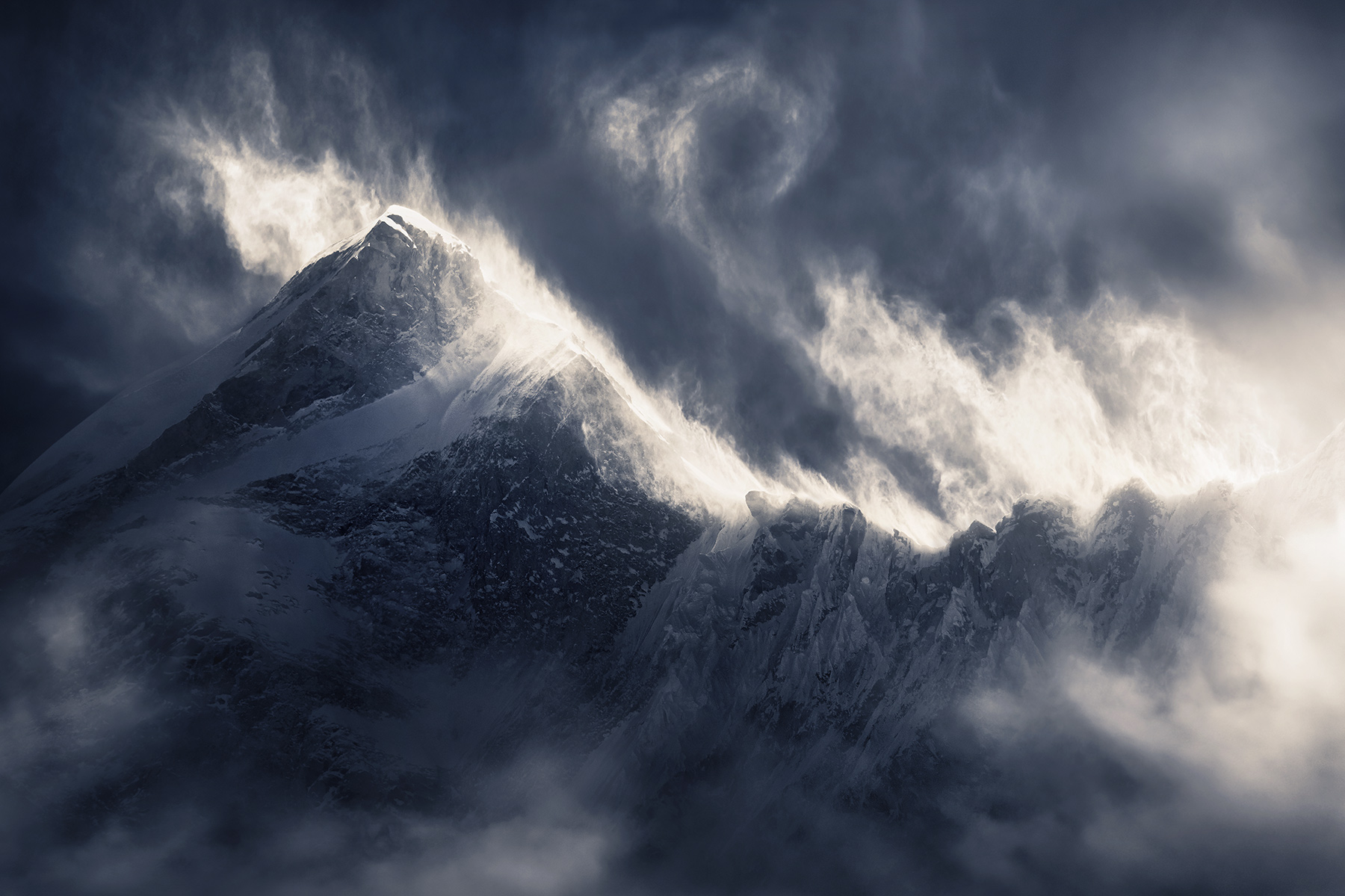 Makalu, snow, blowing, wind, storm, power, dramatic, winter, cold, himalaya, tibet, photo