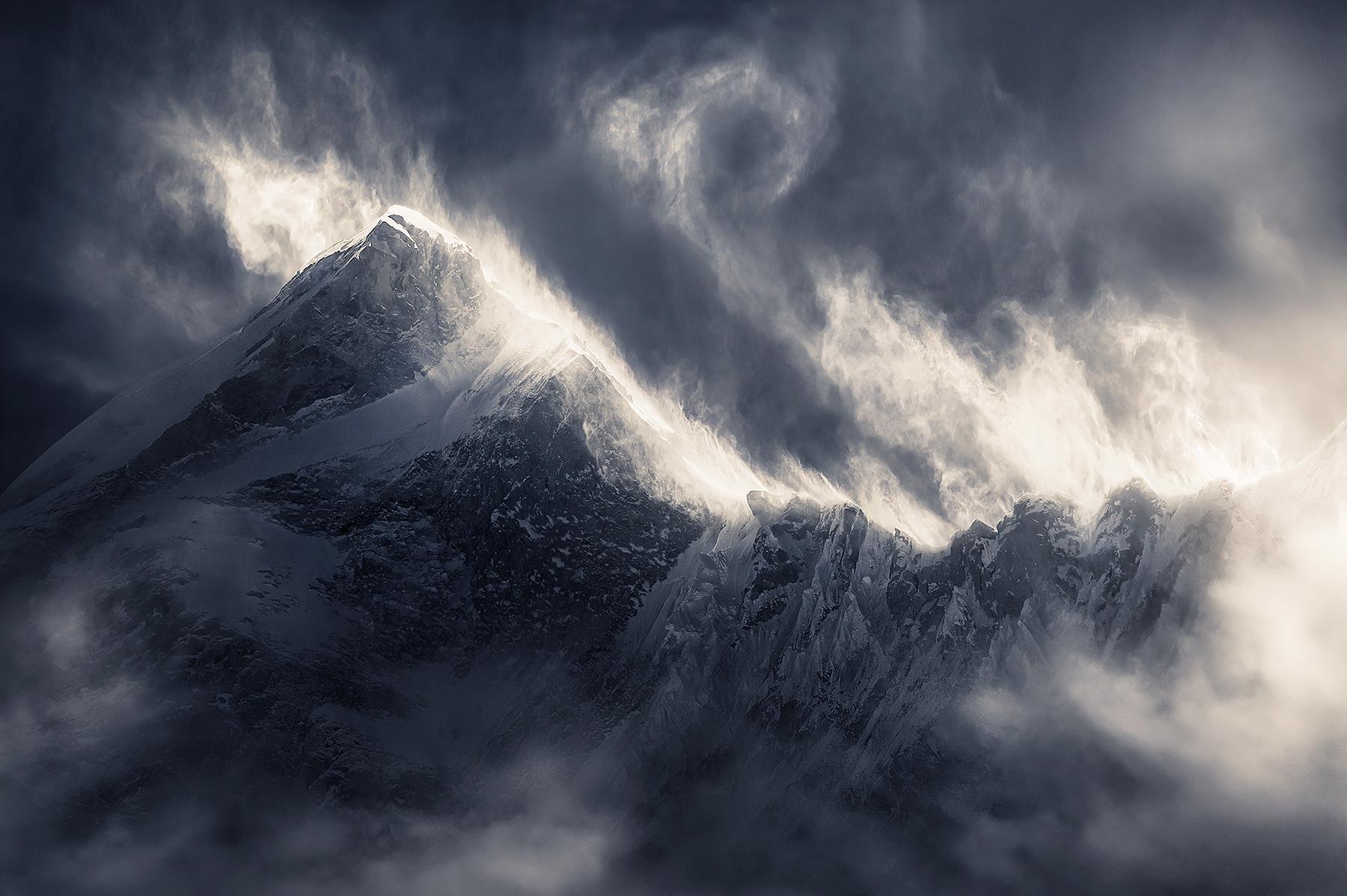 Makalu, snow, blowing, wind, storm, power, dramatic, winter, cold, himalaya, tibet, photo
