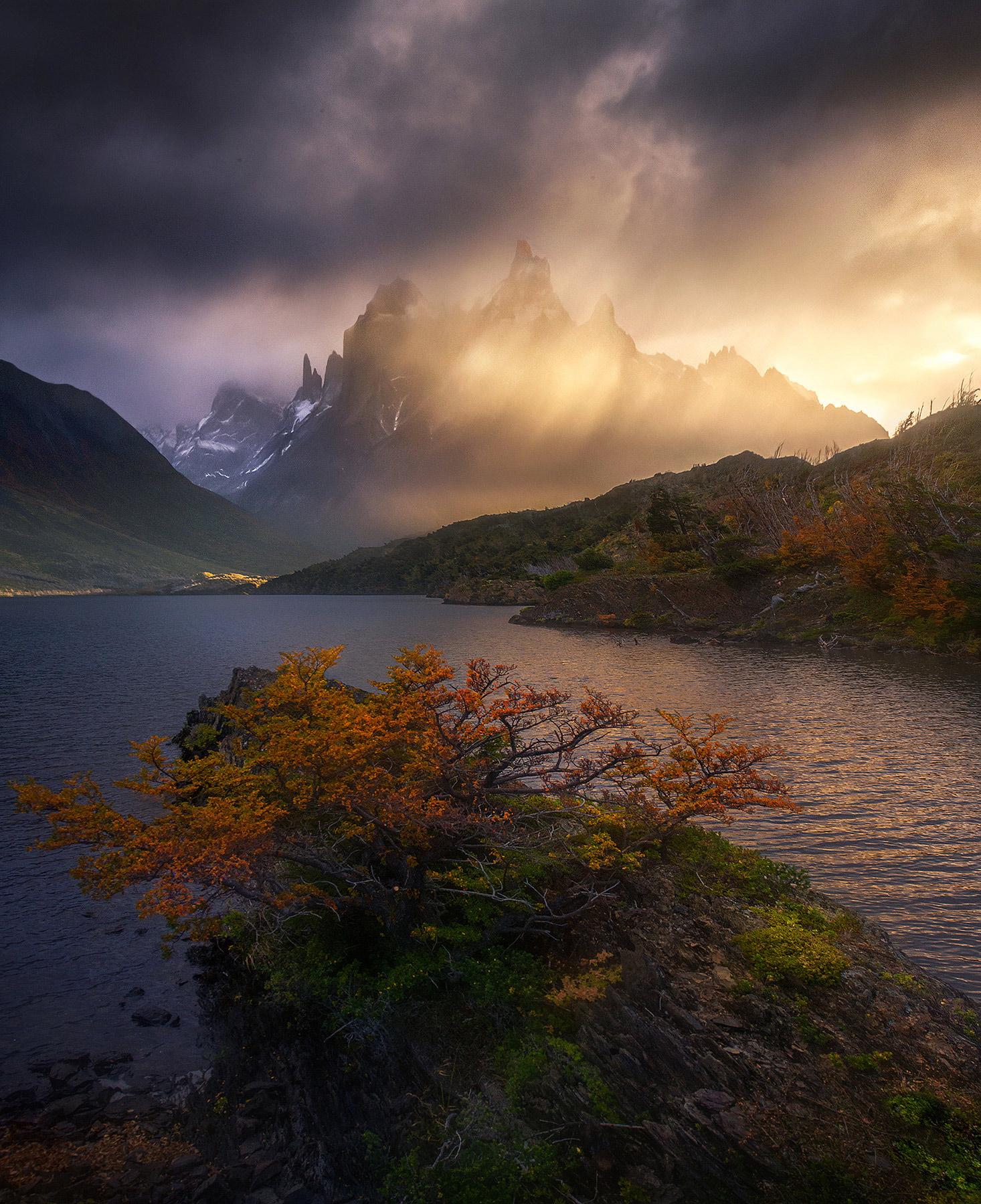 rain, sunrise, beams, autumn, Chile, Torres del Paine, photo