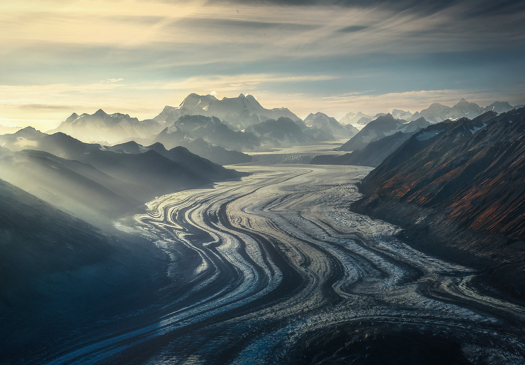 glacier, mountains, Wrangell, ice flow, , photo