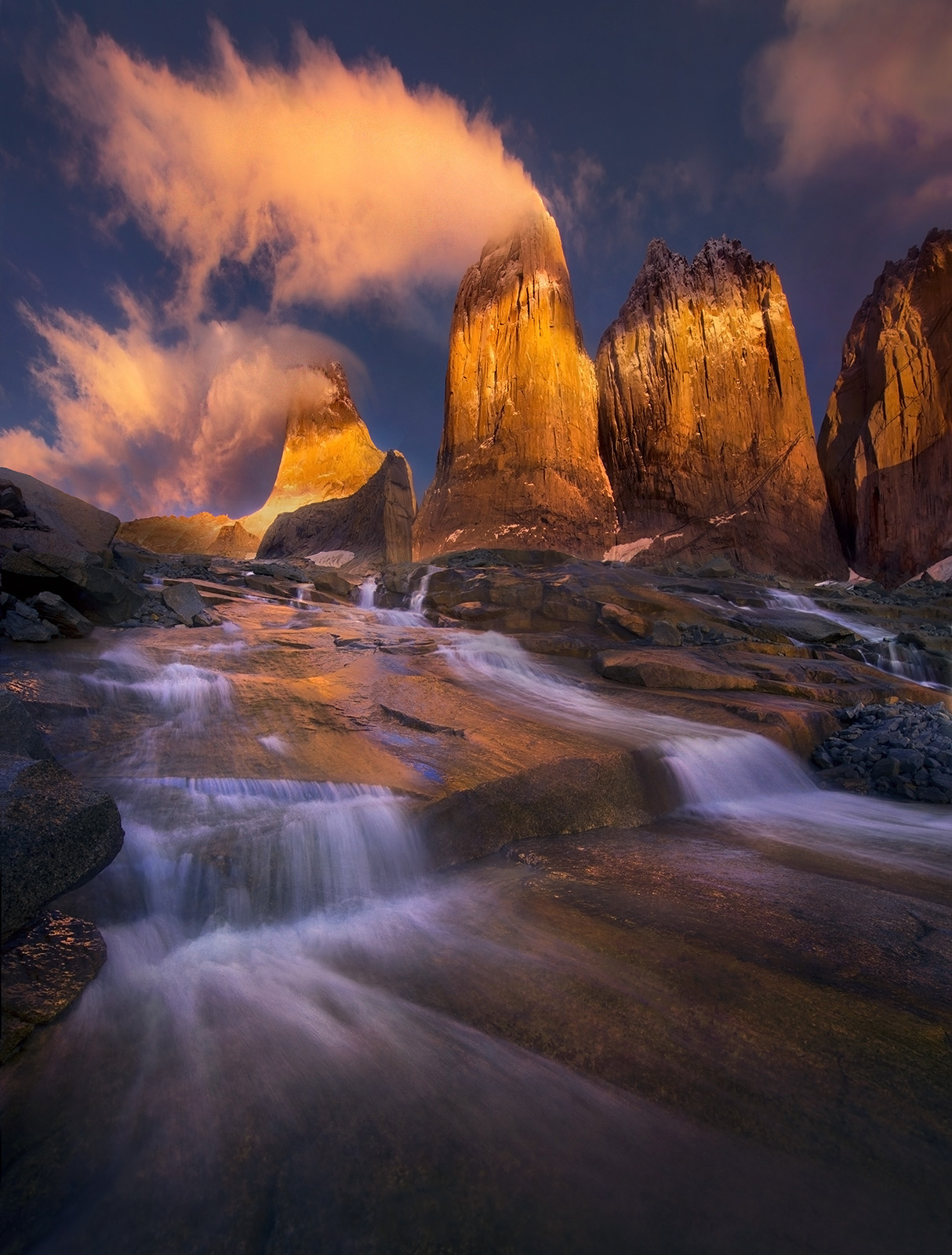 Sunrise, Three Towers, Chile, Unique, Stream, photo