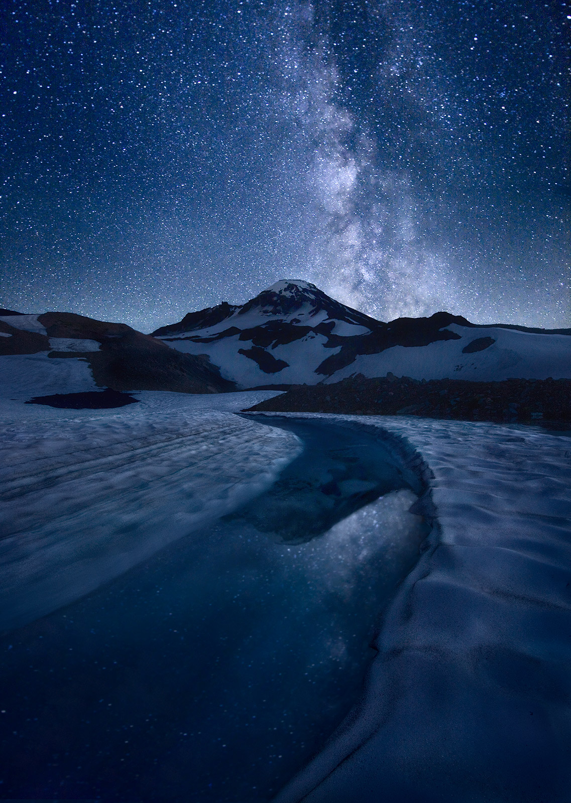South Sister, Oregon, Peak, Milky Way, Night, Ice, Melt, Reflection, photo