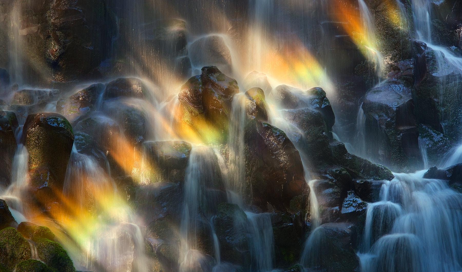 basaltic, waterfall, rainbow, light, oregon, photo