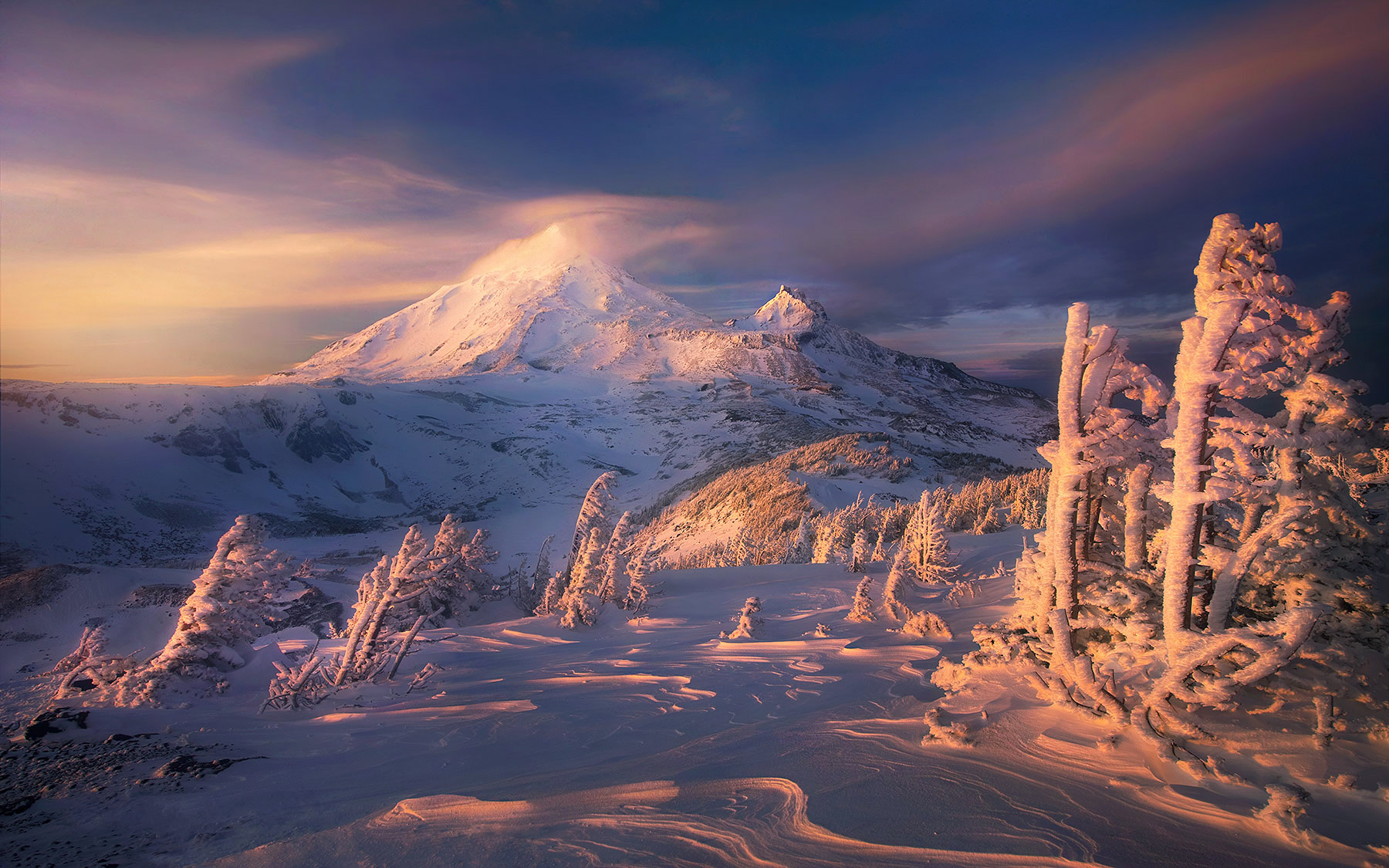 sunset, snow, winter, oregon, three sisters, chambers, wilderness, unique, rim, ice, photo