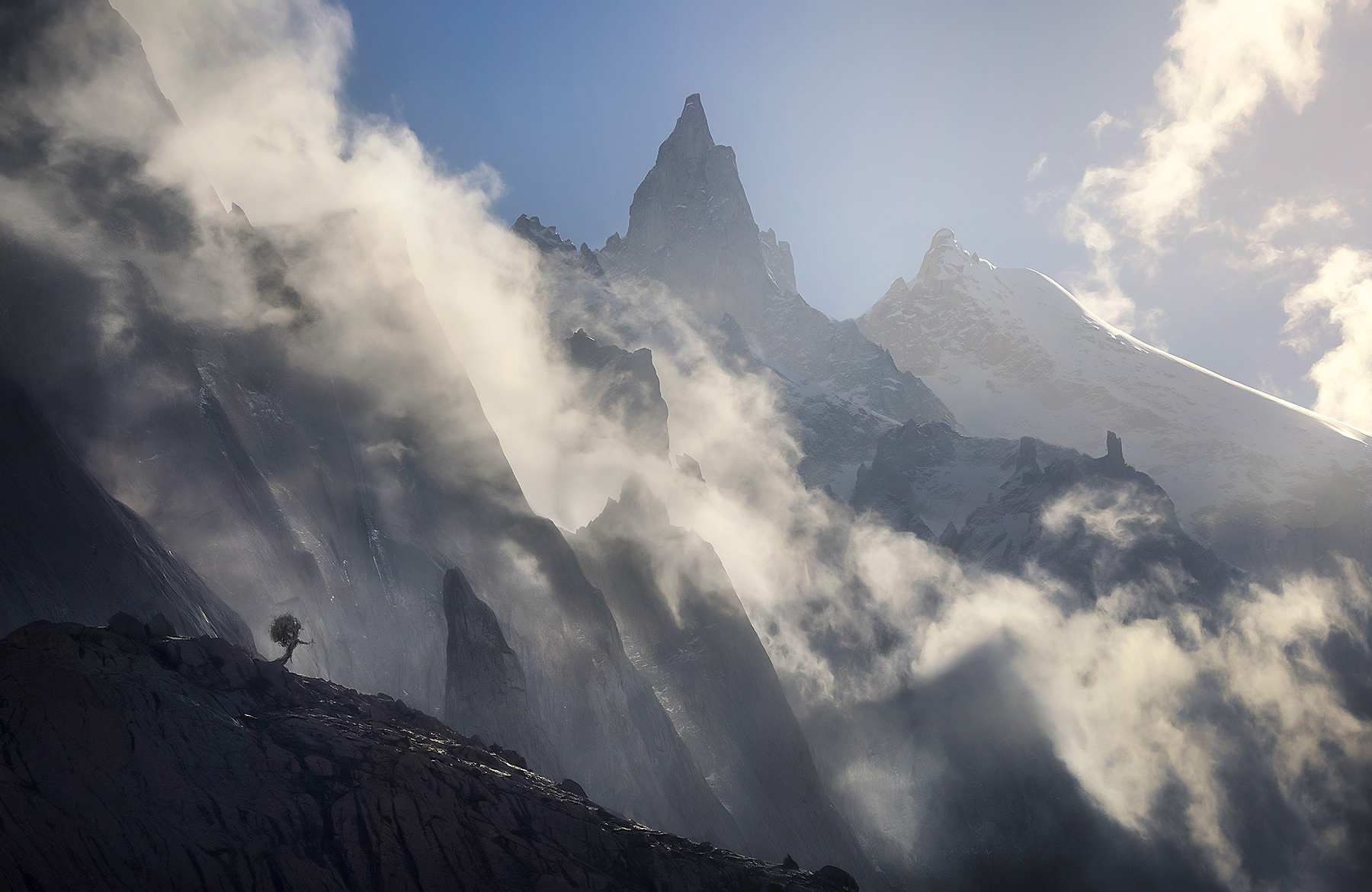 Layers of high peaks clear after an evening storm high in the Karakorum Himalayas of Pakistan.