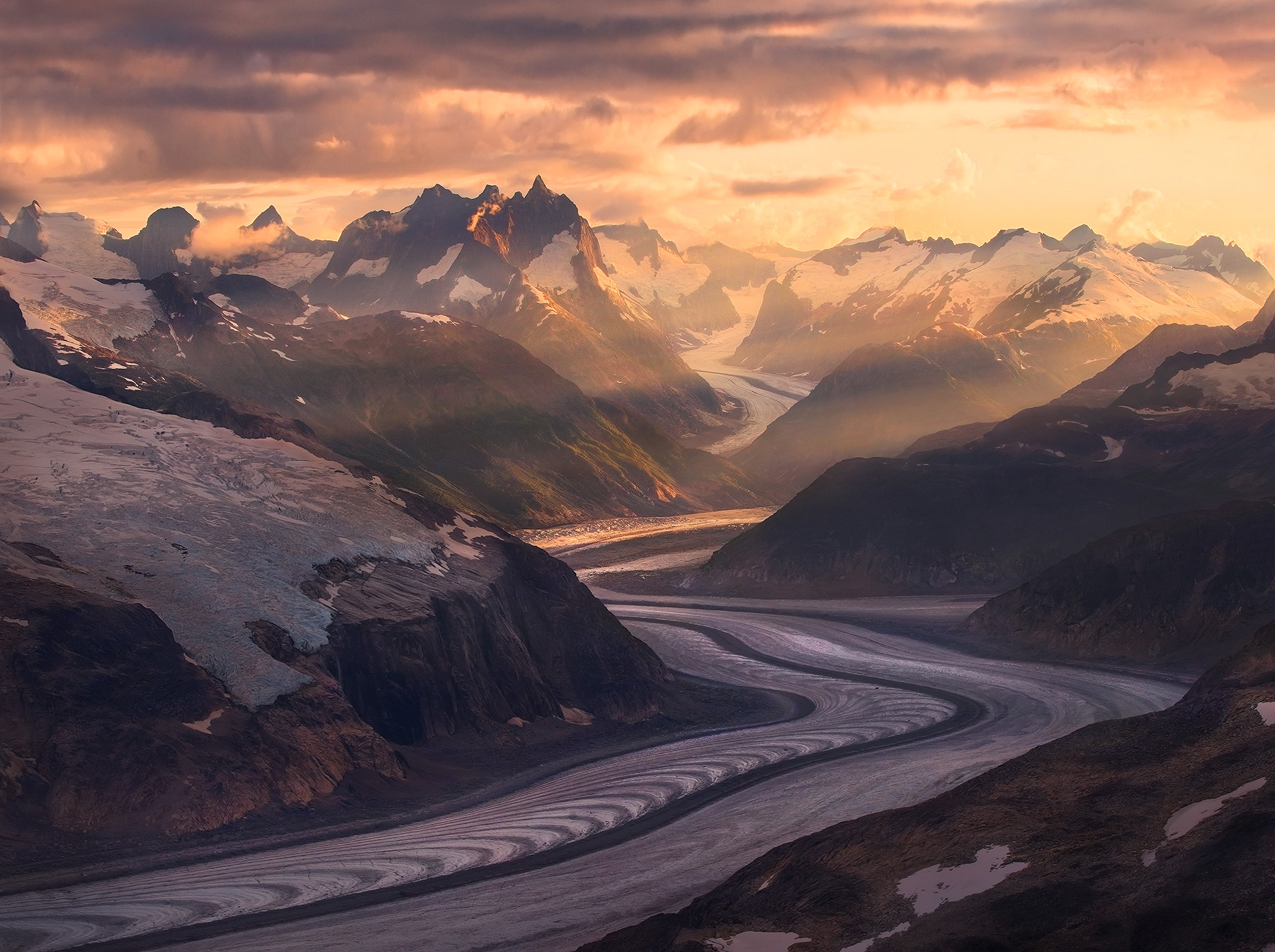 Glaciers wind their way through the amazing high peaks of Alaska's Boundary Range in the Coastal Mountains outside Juneau.