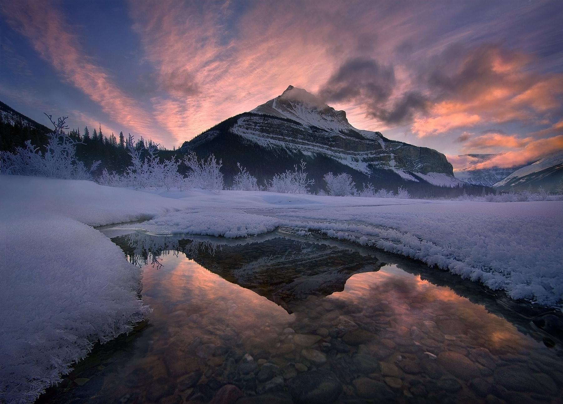 Vibrant, sunrise, misty, peaks, alberta, rockies, winter, photo