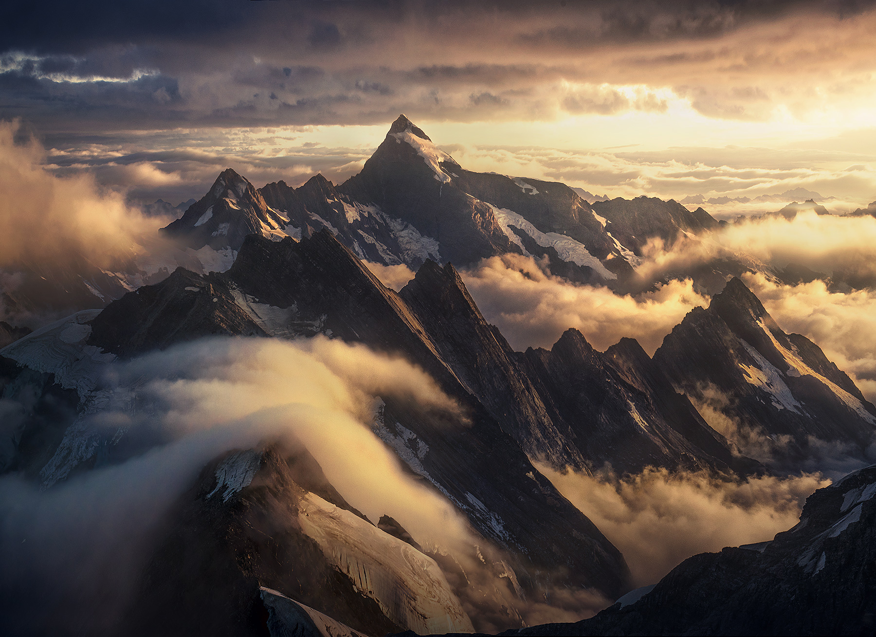 Great peaks of the high mountains of New Zealand
