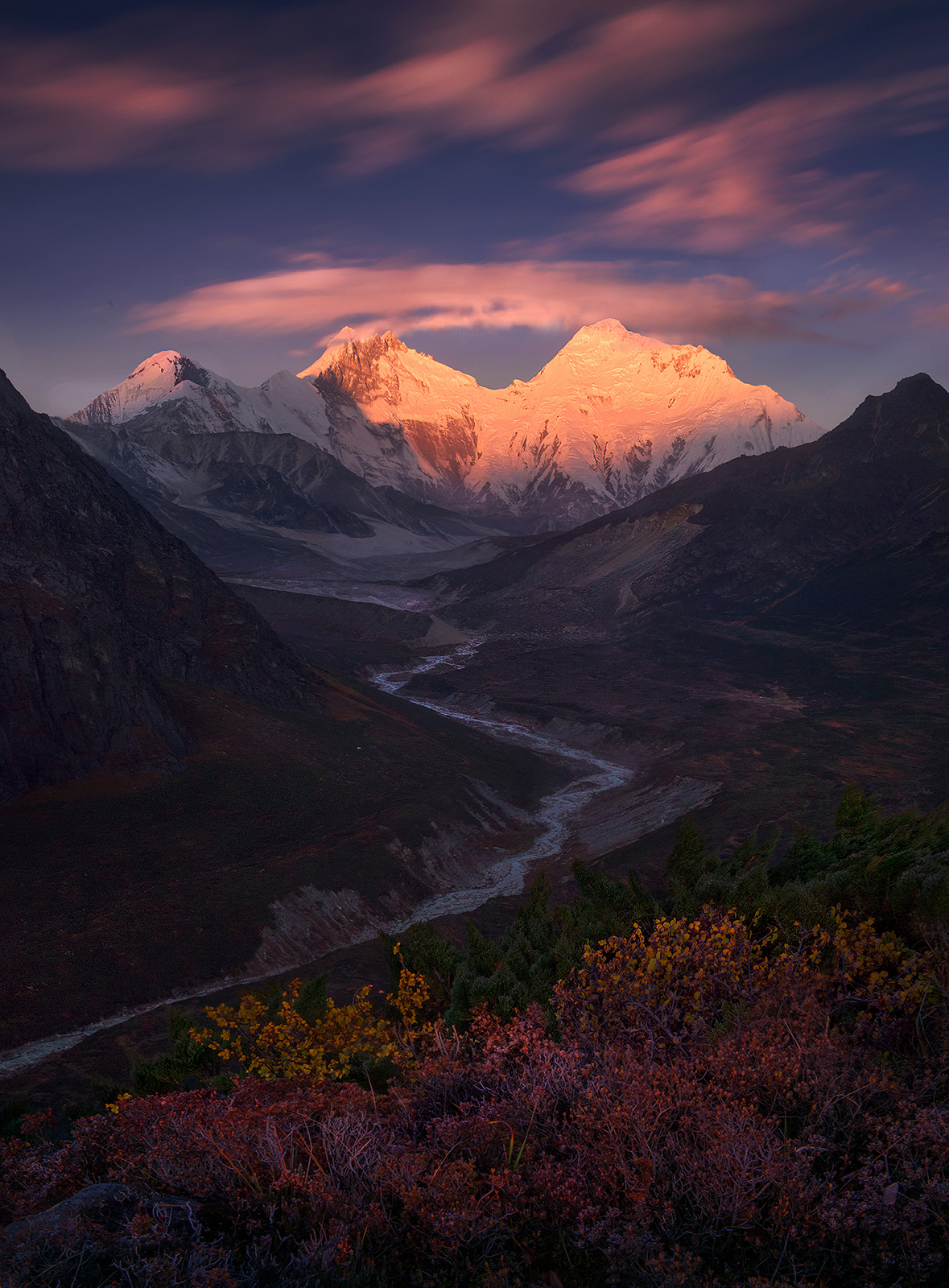 Everest, himalaya, river, unique, autumn, fall, tibet, photo