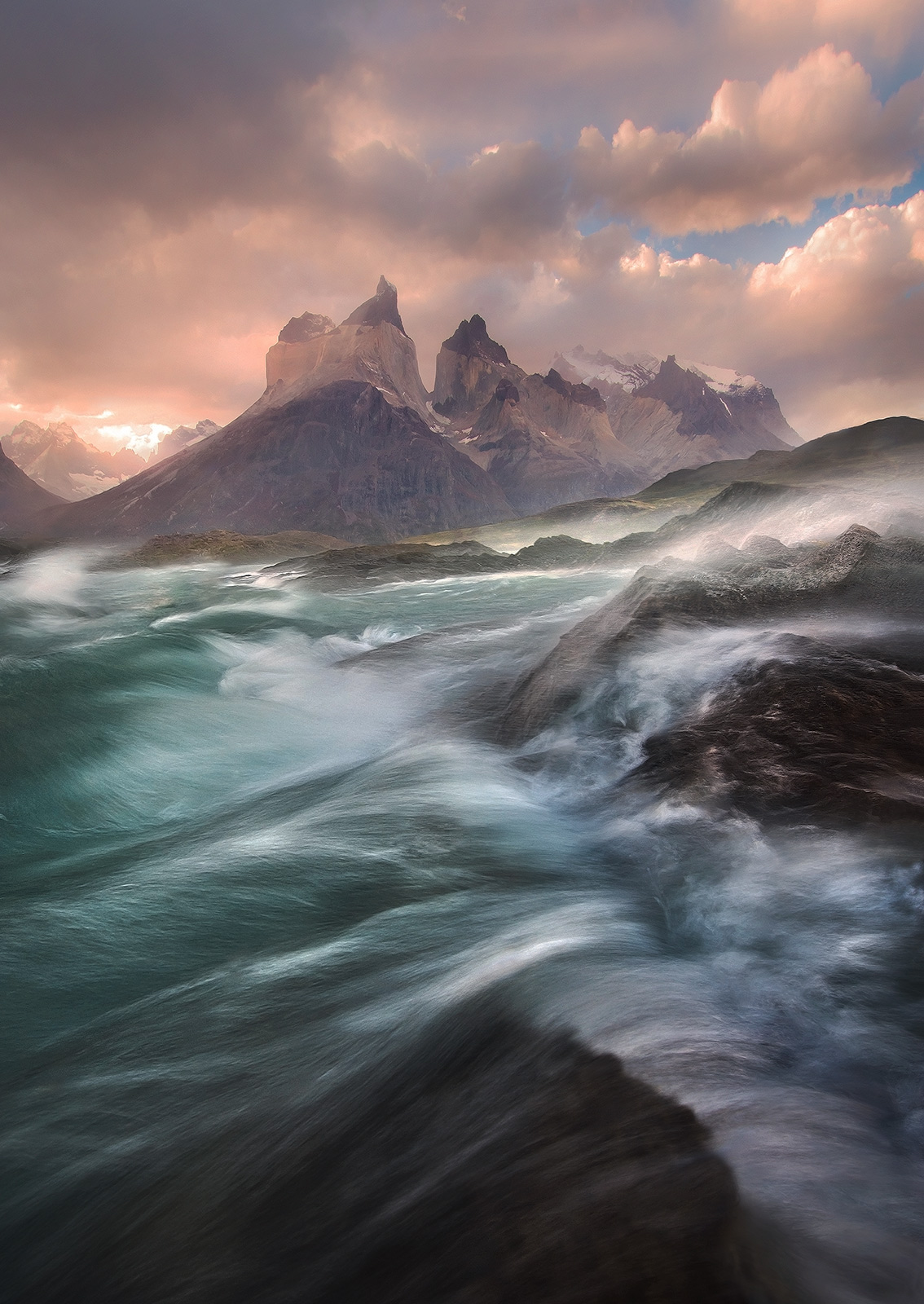 wind, lake, waves, patagonia, torres del paine, chile, photo