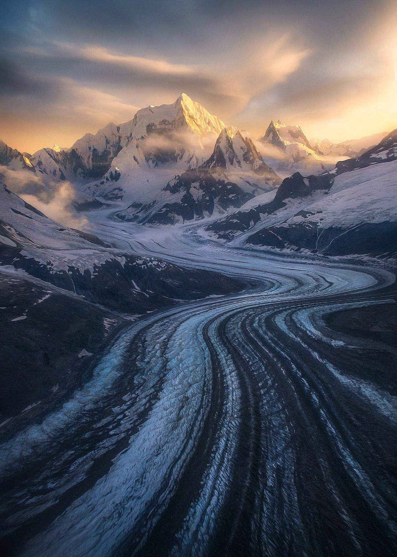 glaciated, glacier, fairweather, Alaska, sunset, photo
