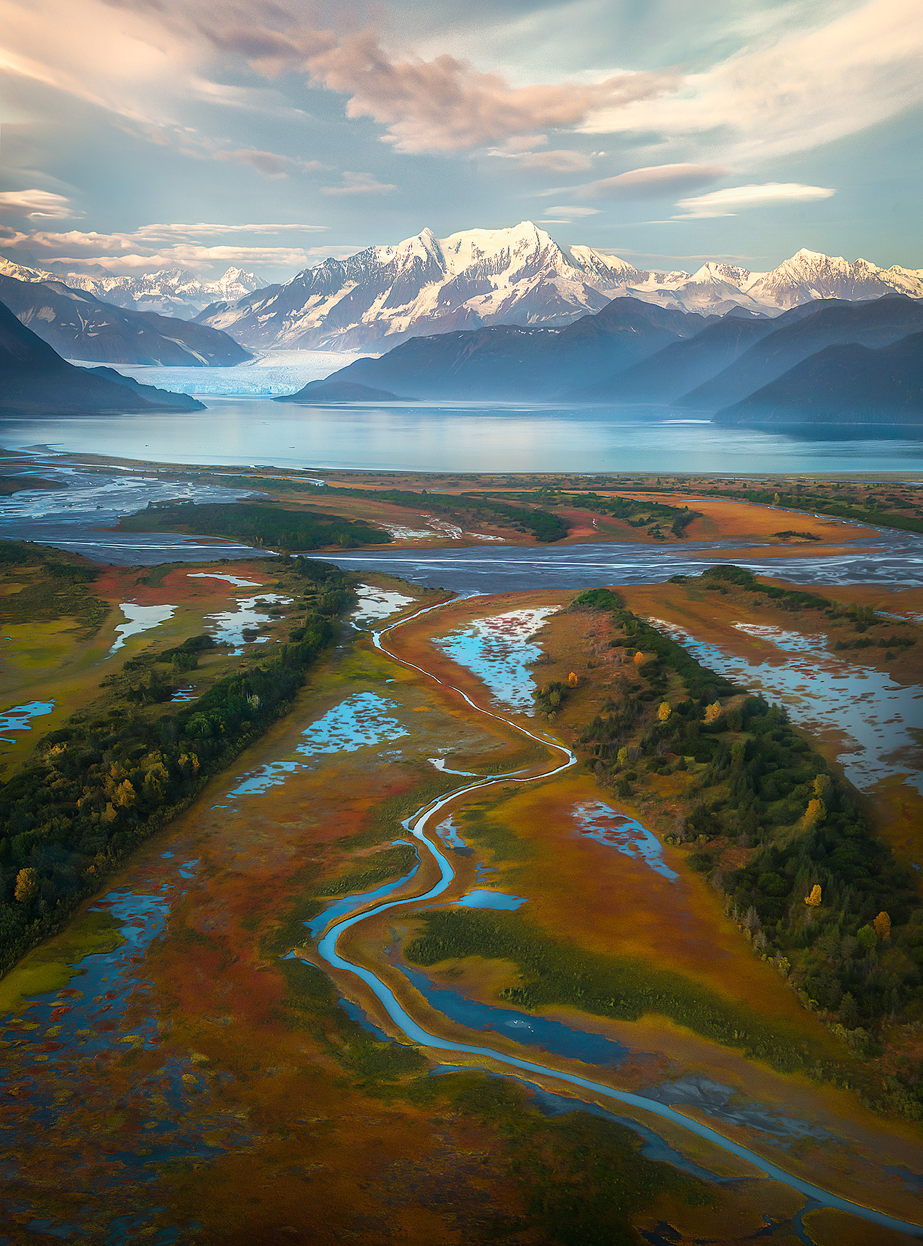 Recently glaciated lands on the shore of Yakutat Bay come back to life with a vibrant display of colors amidst waterways.