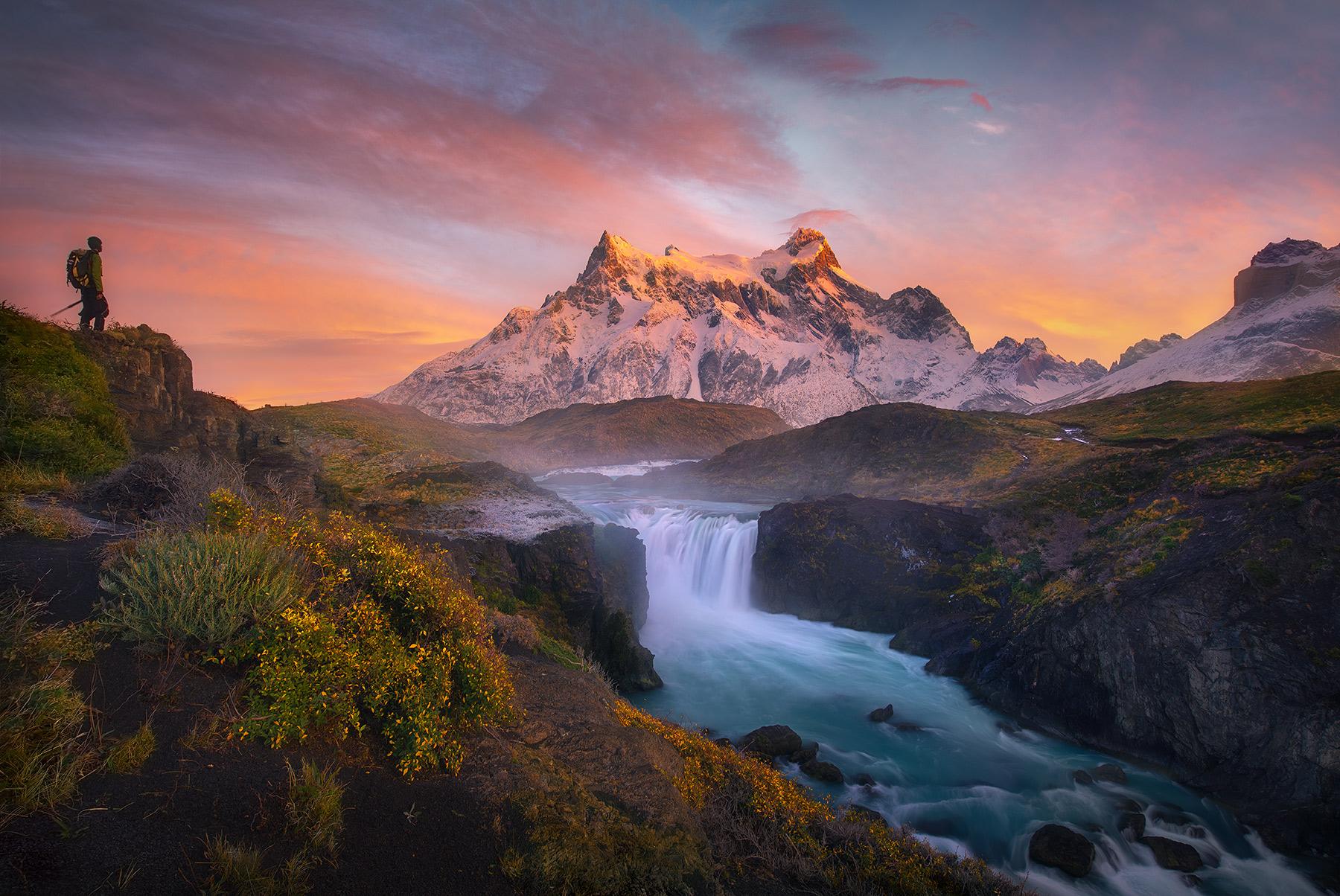 My friend and fellow photographer, Floris Van Breugel, savors the massive views over Salto Grande and Paine Grande peaks.&nbsp...