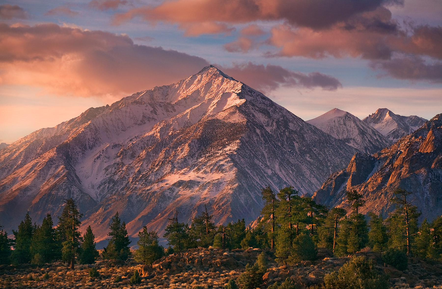 Mount Tom, in the Eastern Sierra of California catches some soft morning light.
