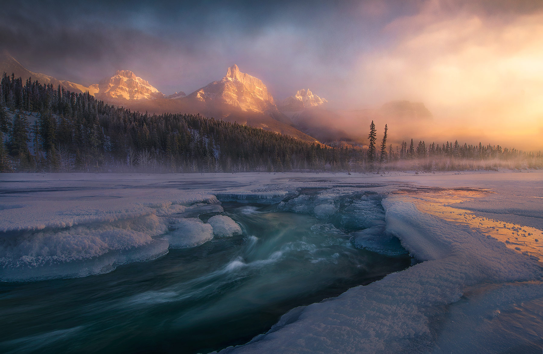 cold, winter, stream, sunrise, peaks, ice, glacial, jasper, photo
