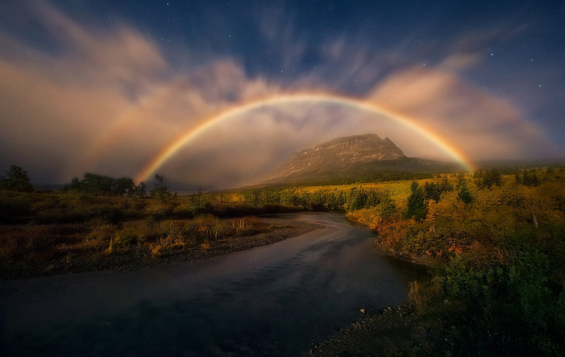 Moon, Moonlight, Moonbow, Rainbow, Night, Glacier, Montana, Autumn, photo