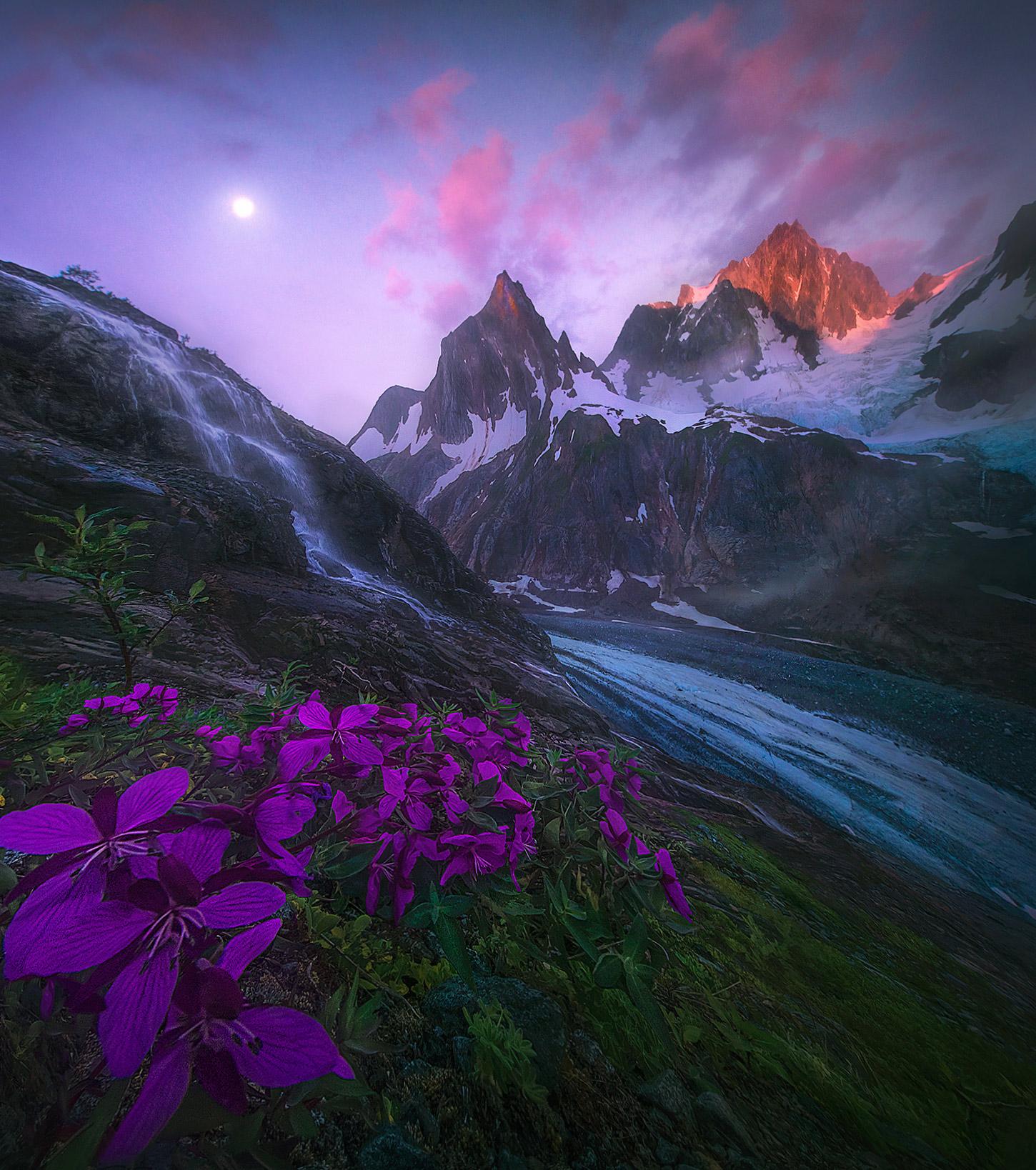 glacier, peaks, Alaska, takhinsha, summer, waterfall, photo