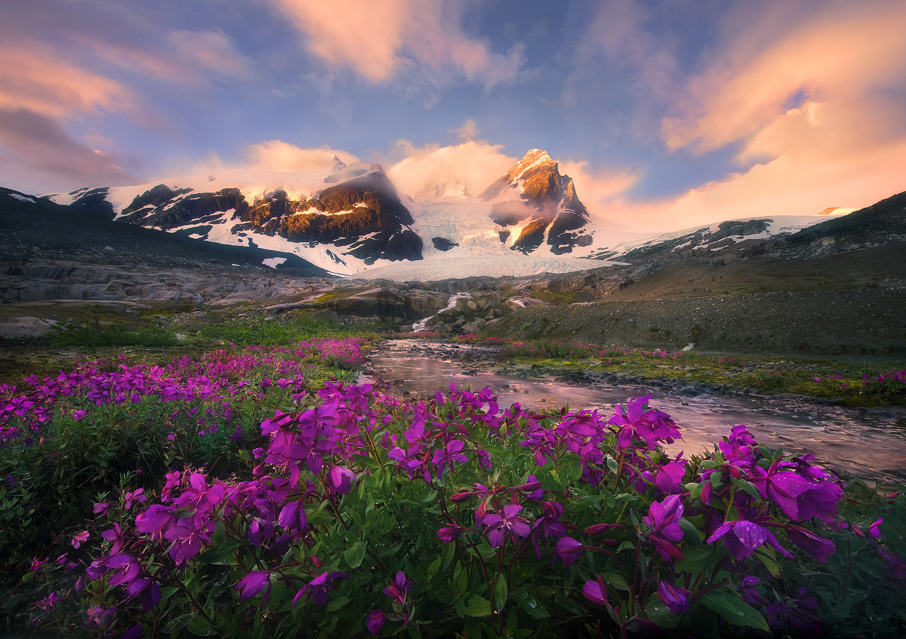 Sunrise colors explode over the huge glaciated peaks and vibrant wildflowers of the Pacific Range, in central British Columbia...