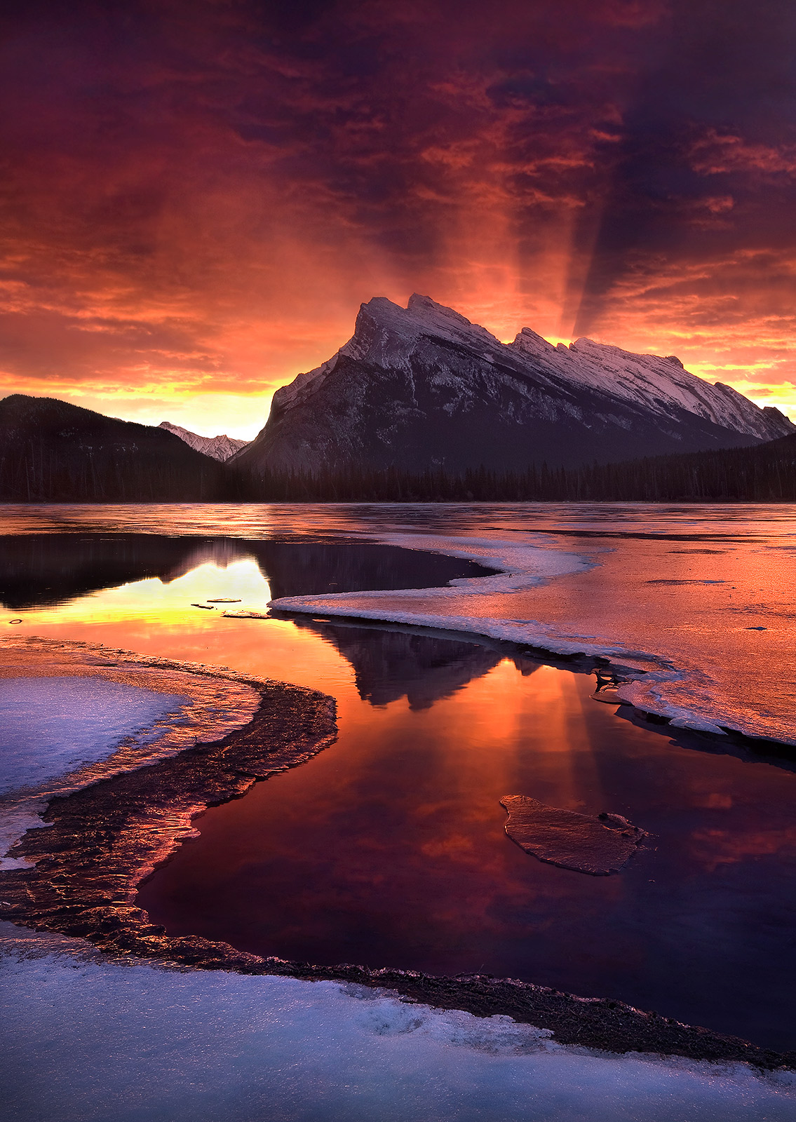 amazing, sunrise, banff, canadian rockies, nature, intense, photo
