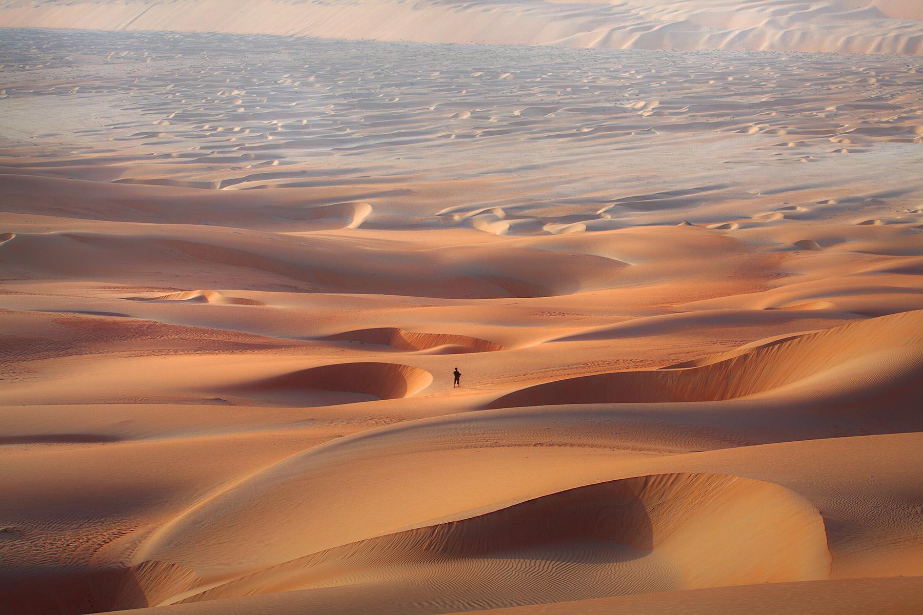 Fellow photographer Abdullaziz Bin Ali roams the dunes in the Empty Quarter, United Arab Emirates.