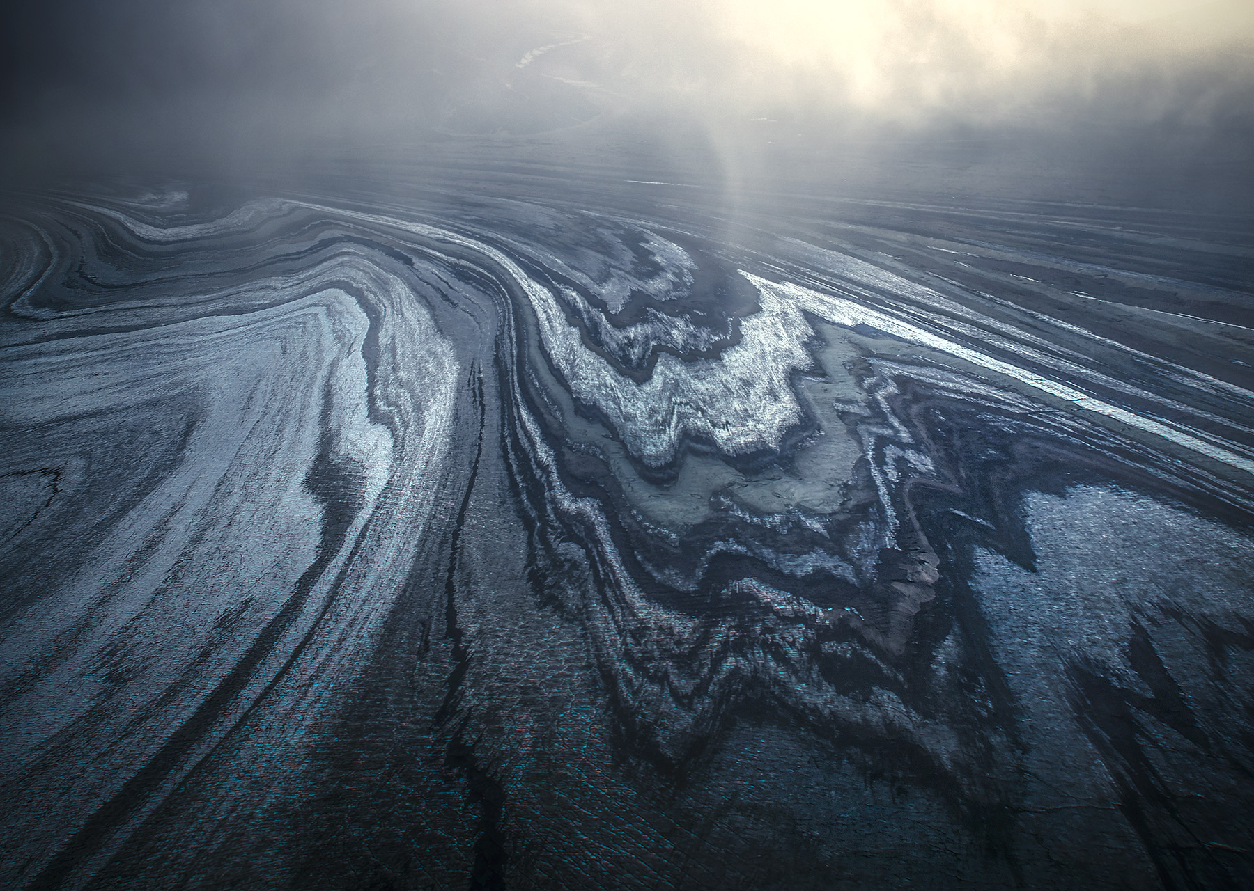 glacier, ogives, moraine, lateral, stripes, striations, alaska, photo