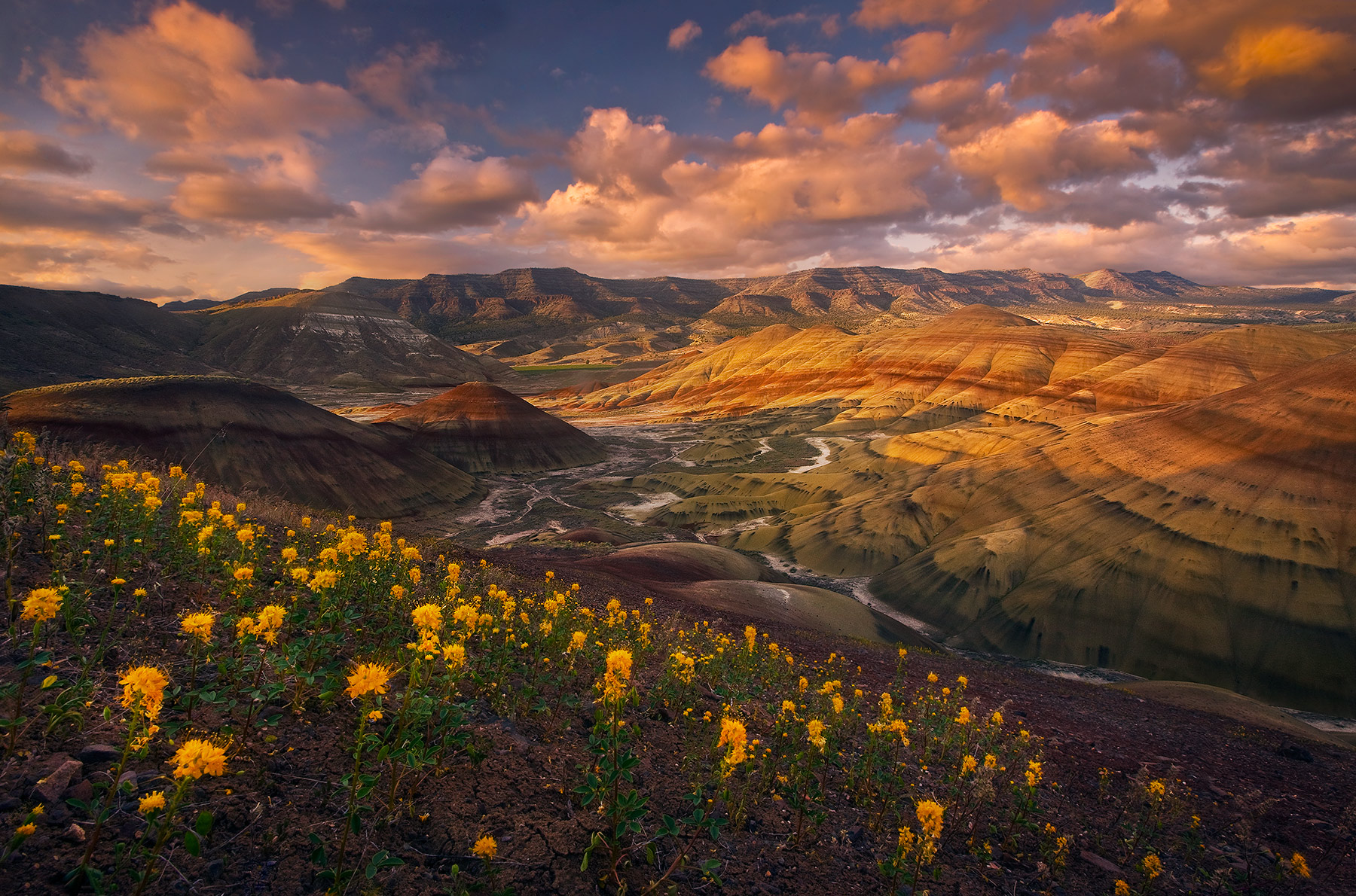 Oregon's Painted Hills National Monument comes alive with soft light, spring wildflowers and beautiful sunset skies.