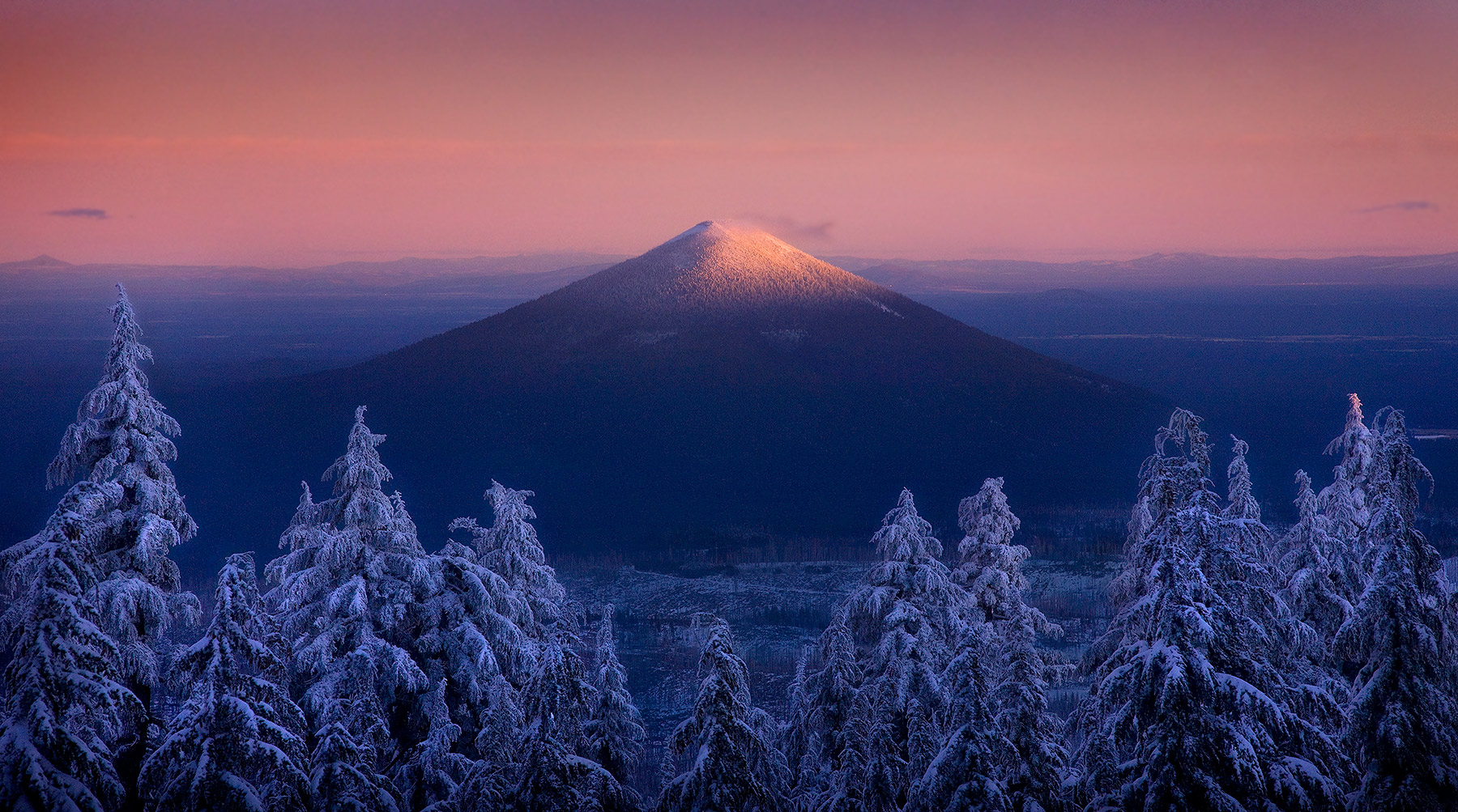 New snow graces the treetops at twilight, looking towards Oregon's Black Butte Peak from my backcountry campsite in winter.
