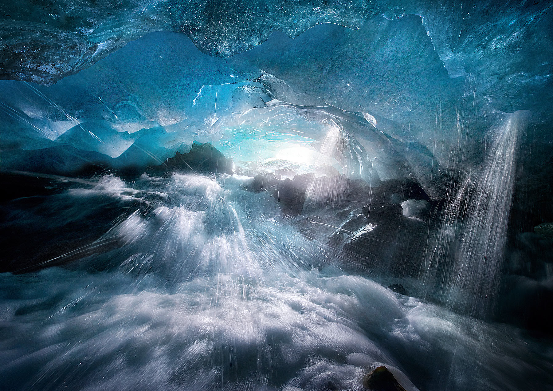 Ice, Cave, Alaska, Boundary Range, stream, splash, blue, cold, photo