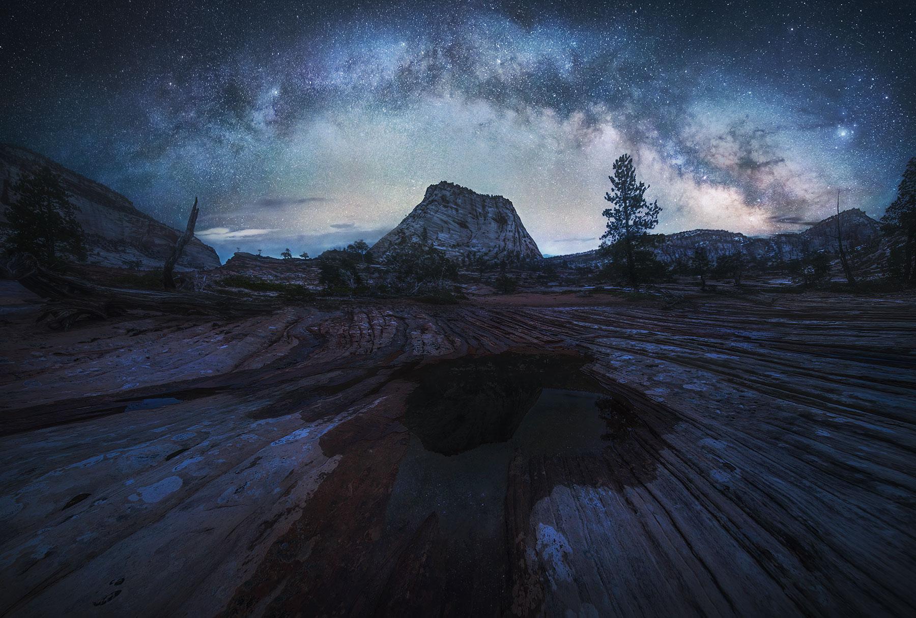 Sandstone, reflection, Milky Way, night, photo