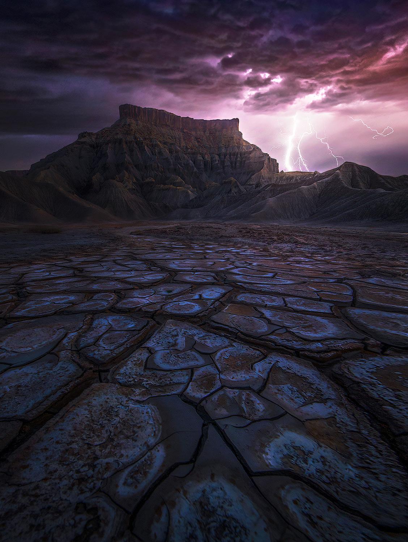 Alkaline mud cracks left behind by the rains await the return of the monsoon.