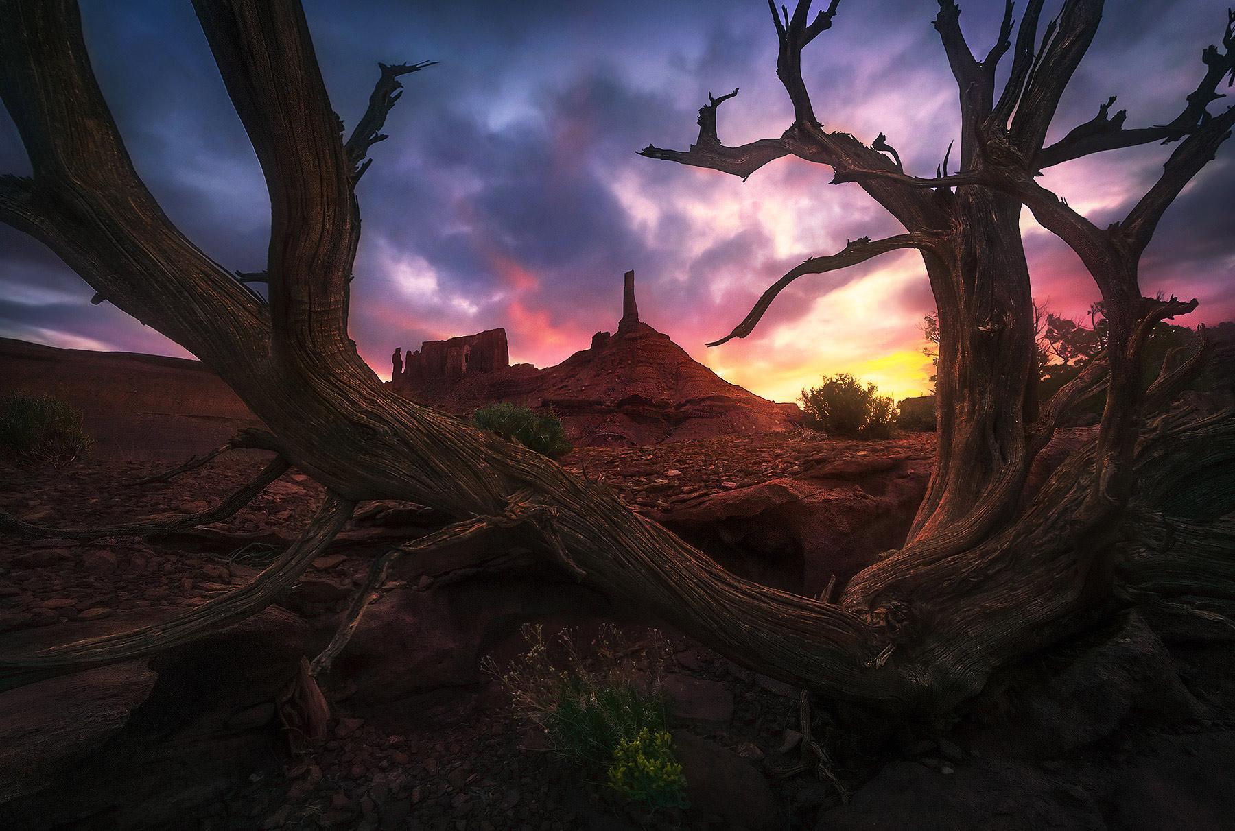 A unique composition of the famous tower at sunrise, Utah.