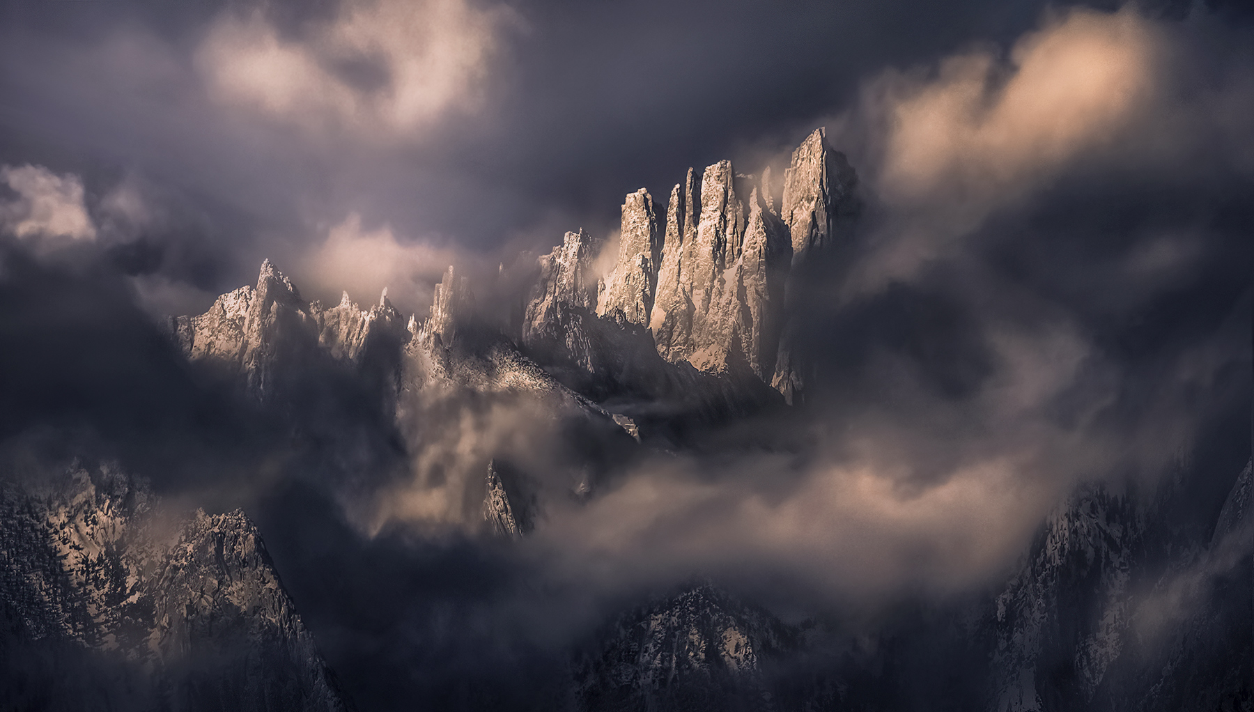 mount Whitney, Sierra, clearing, storm, winter, mountains, peaks, sharp, jagged, California, photo