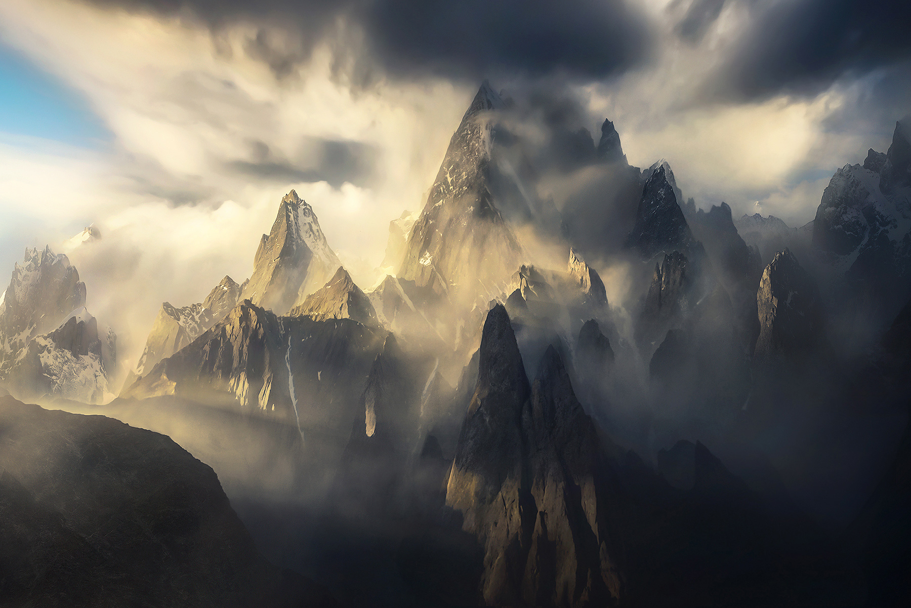 High towers and a clearing snowstorm from the Machulo Valley, Pakistan