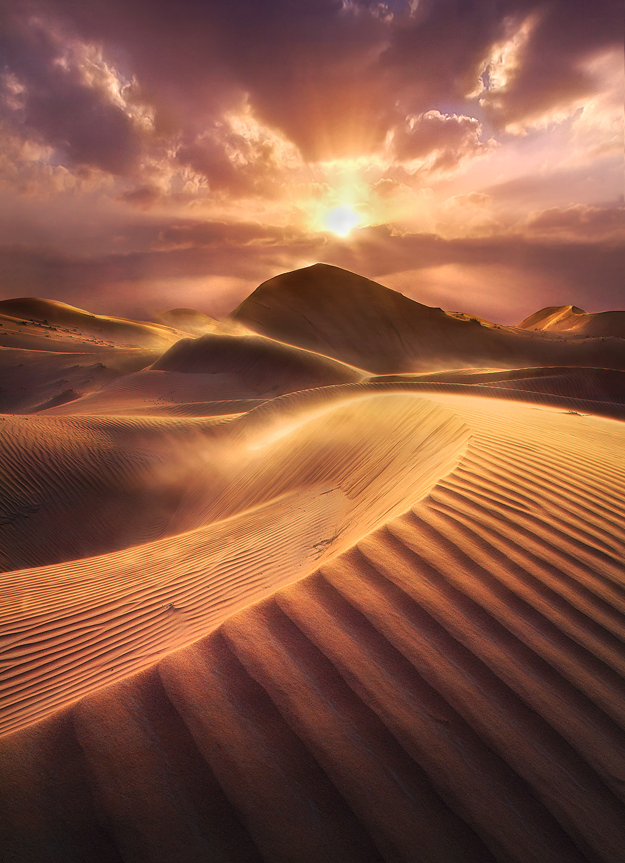 United Arab Emirates, Light, Vibrant, Beams, SUnset, windy, dunes, photo
