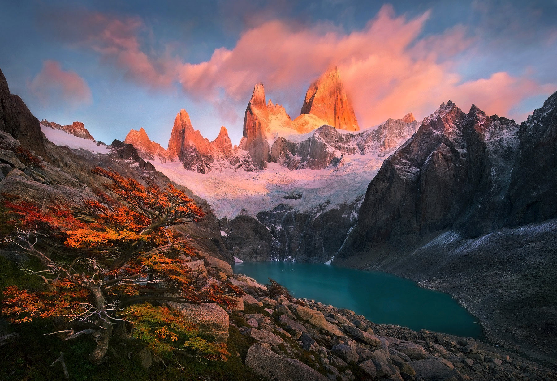 Fitz Roy, Argentina, Sunrise, Unique, Fall, Autumn, photo