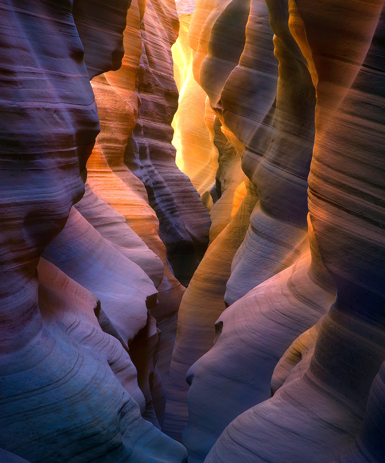 colorful, light, reflected, remote, slot canyon, photo