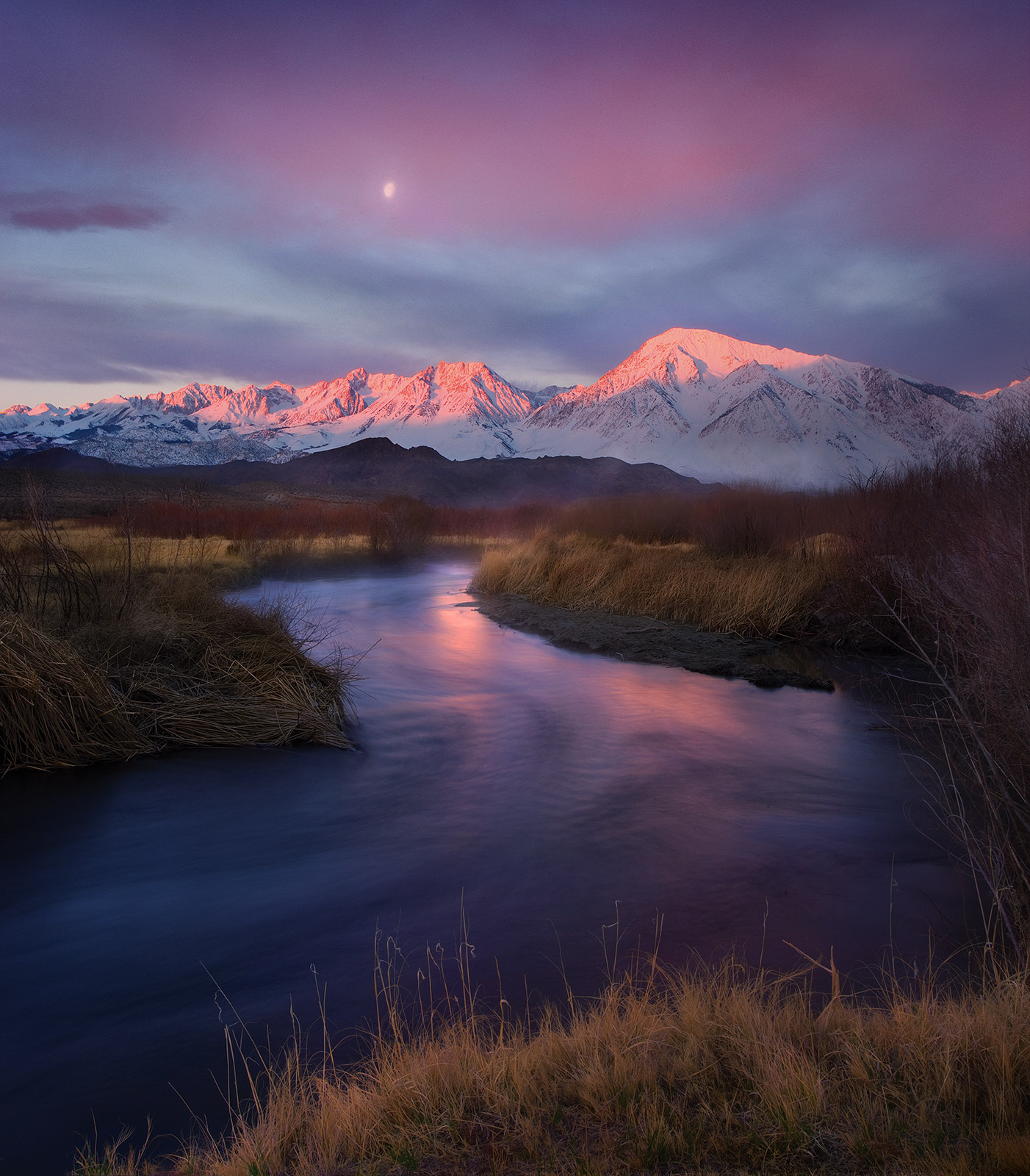 Beautiful sunrise glow over the Sierra mountains from Owens Valley, California.