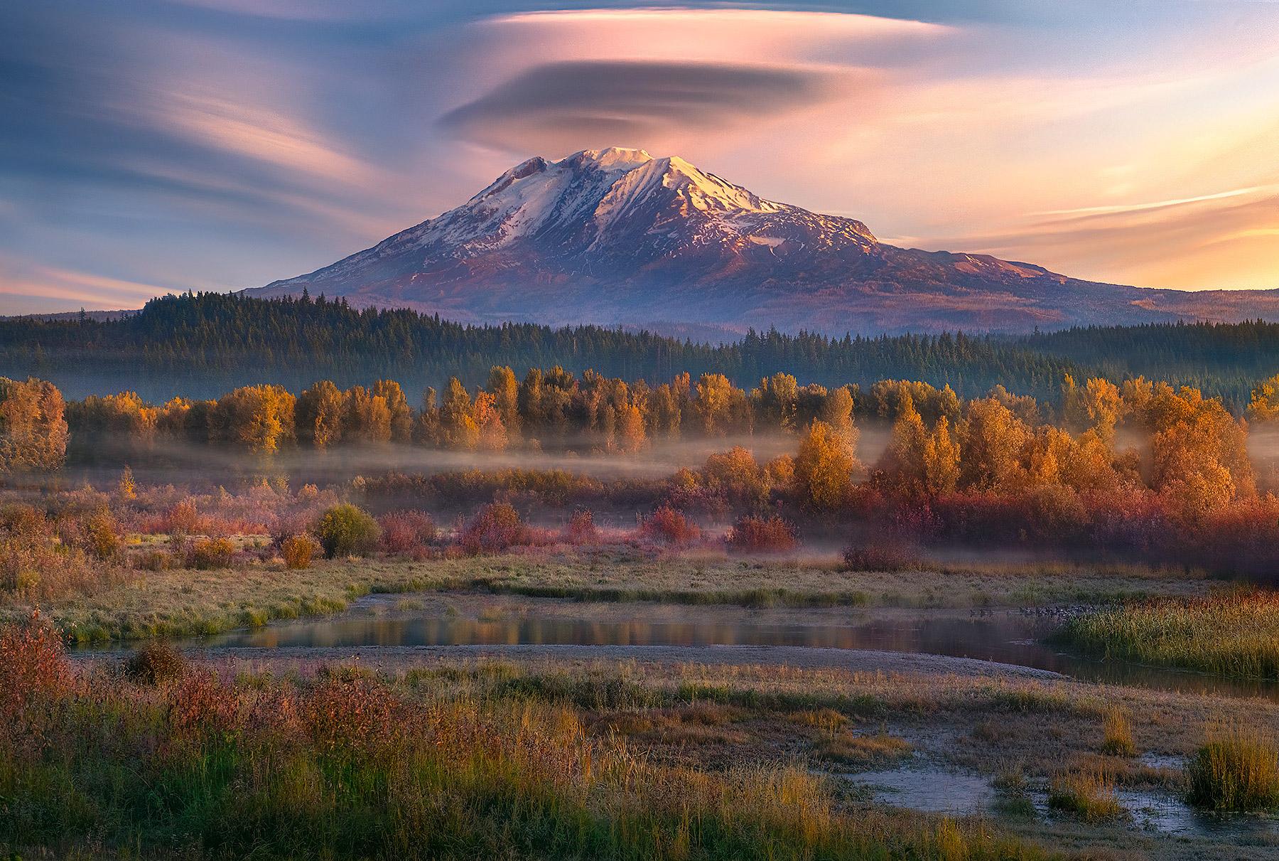 fall, Adams, volcano, clickitat, wetlands, autumn, mist, morning, Washington, photo