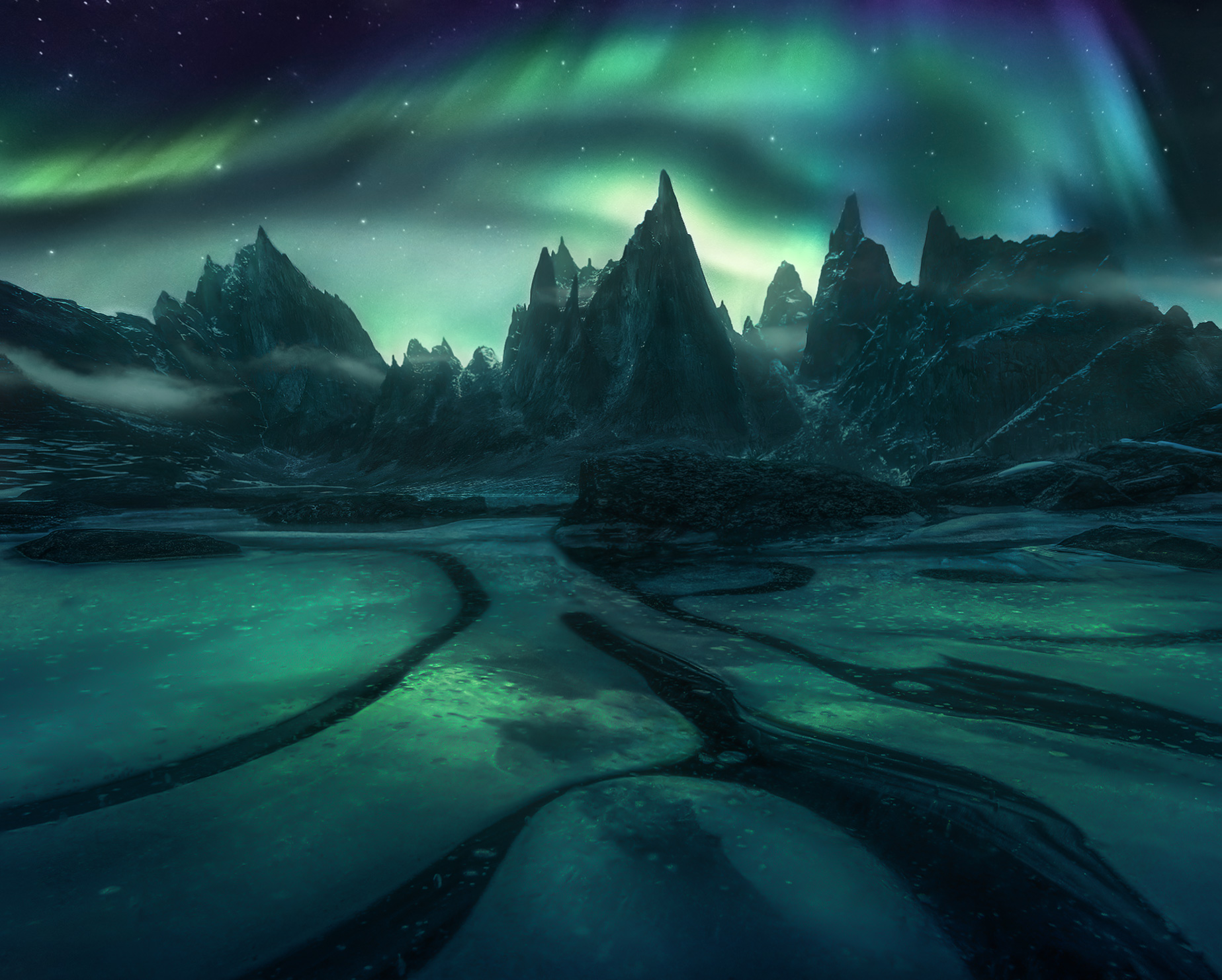 jagged, rock, aurora, panorama, lake, frozen, ice, winter, photo