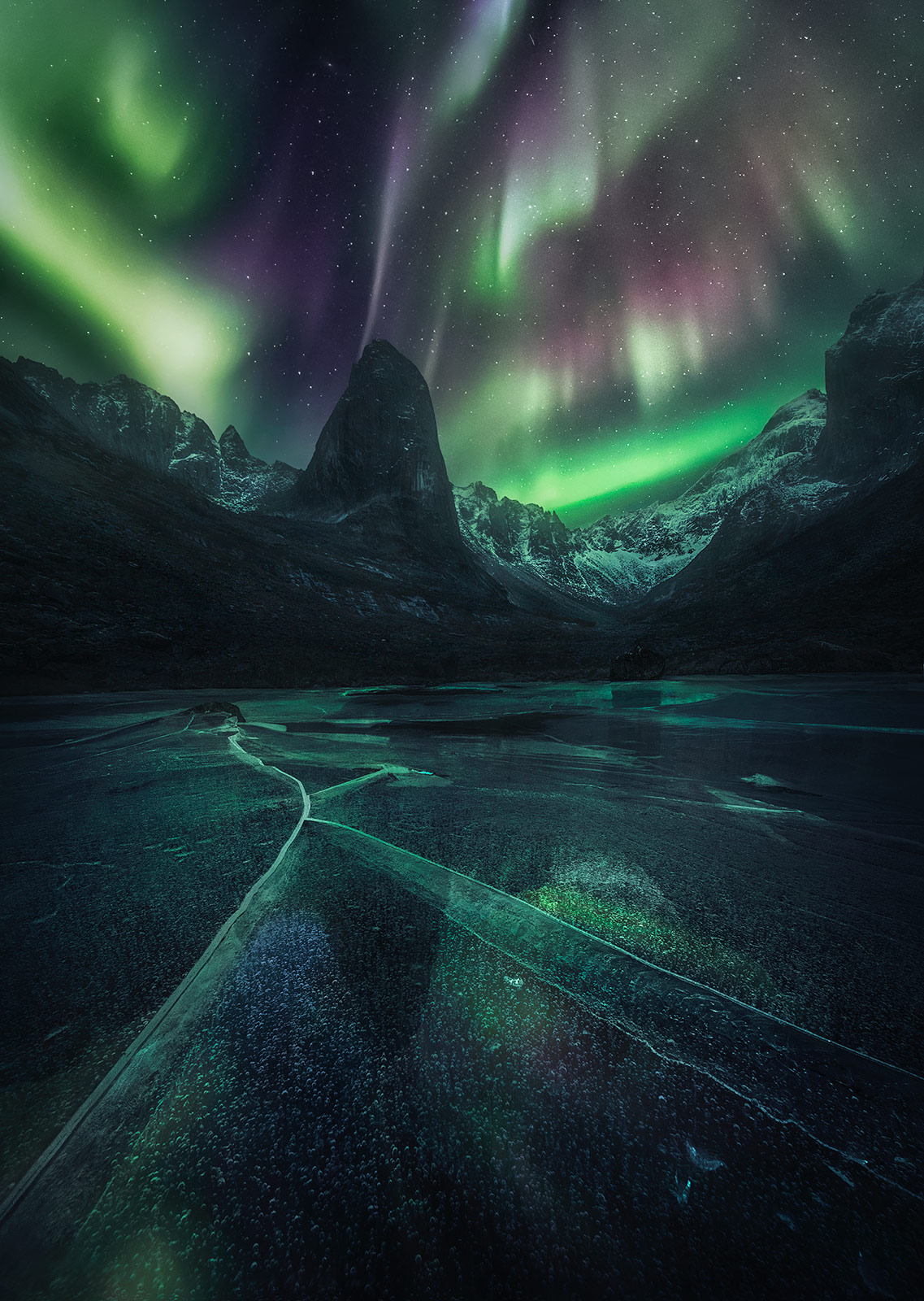 stars, aurora, ice, reflection, Yukon, photo