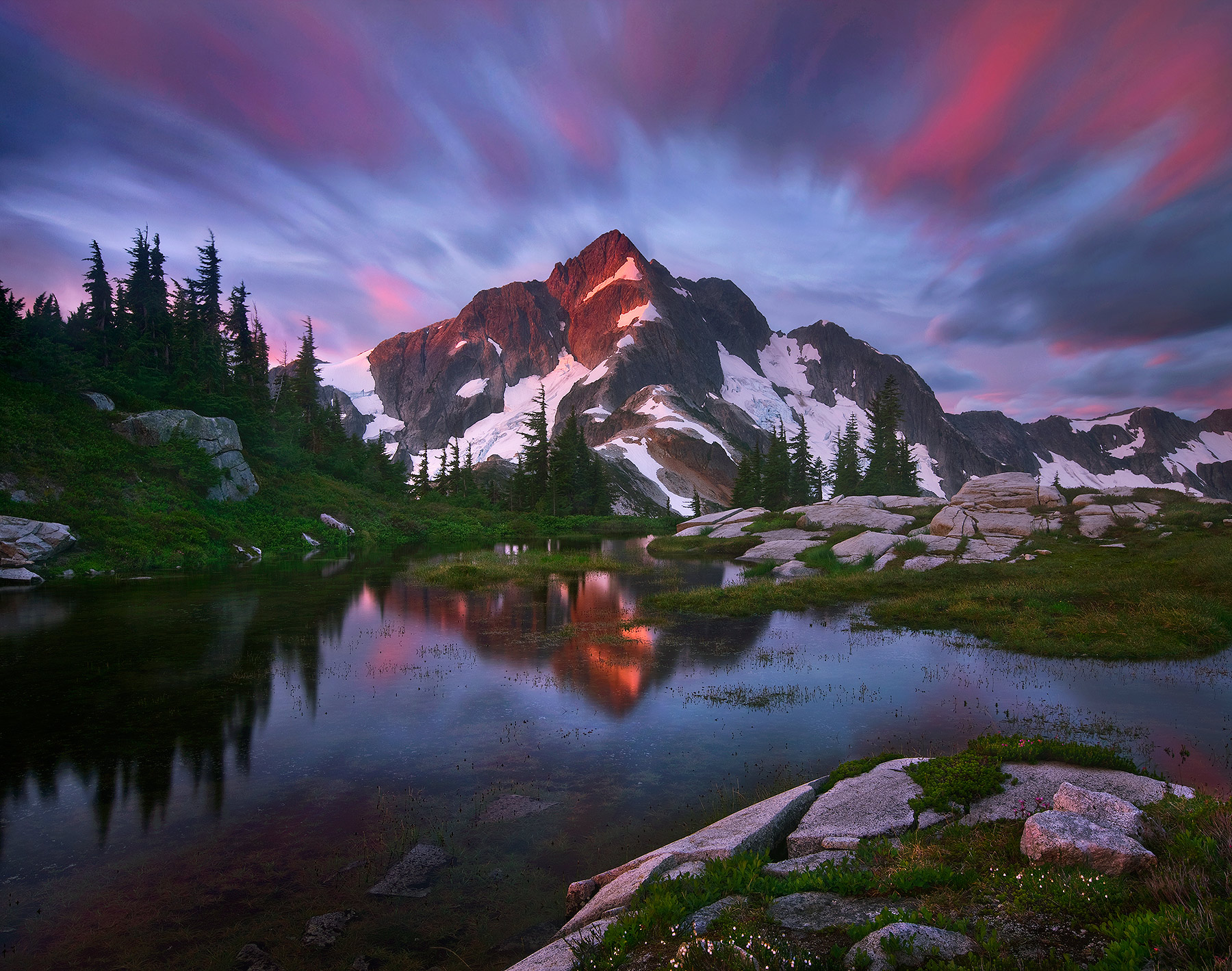 Long exposure, clouds, whatcom peak, peak, whatcom, north cascades, washington, tarn, remote, photo