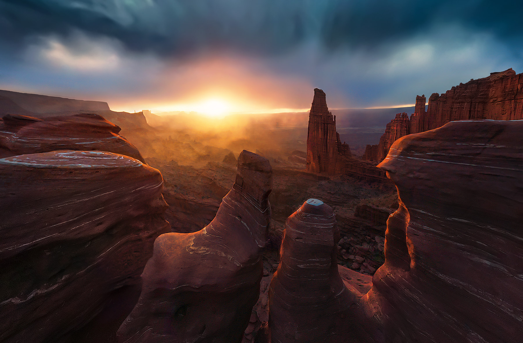 fisher towers, sunset, storm, climbing, Moab, titan, photo