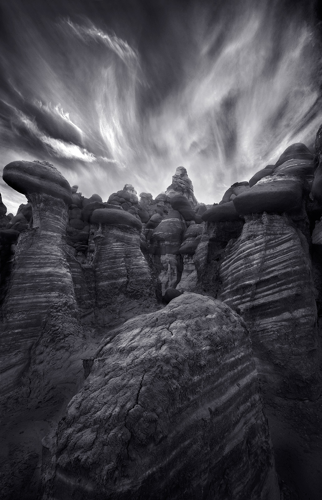 striped, rock formations, arizona, remote, sunset, black and white, dramatic, photo