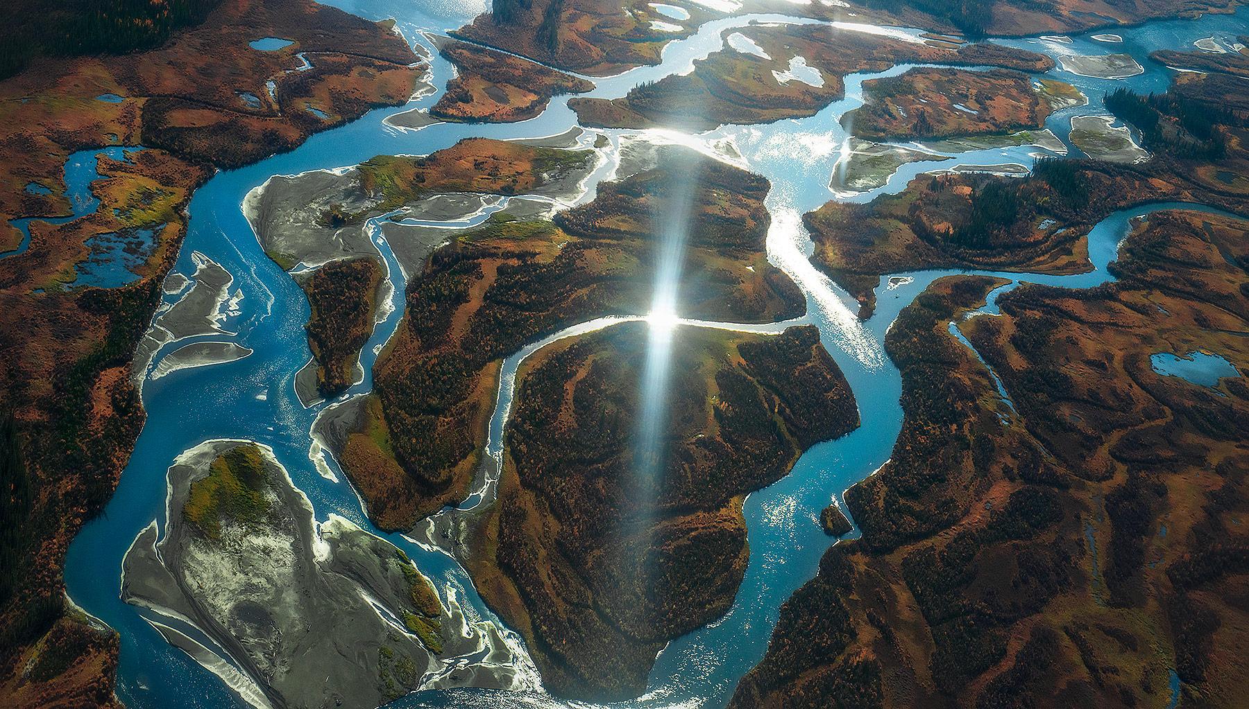 autumn, kluane, glacial, blue, river, Yukon, photo