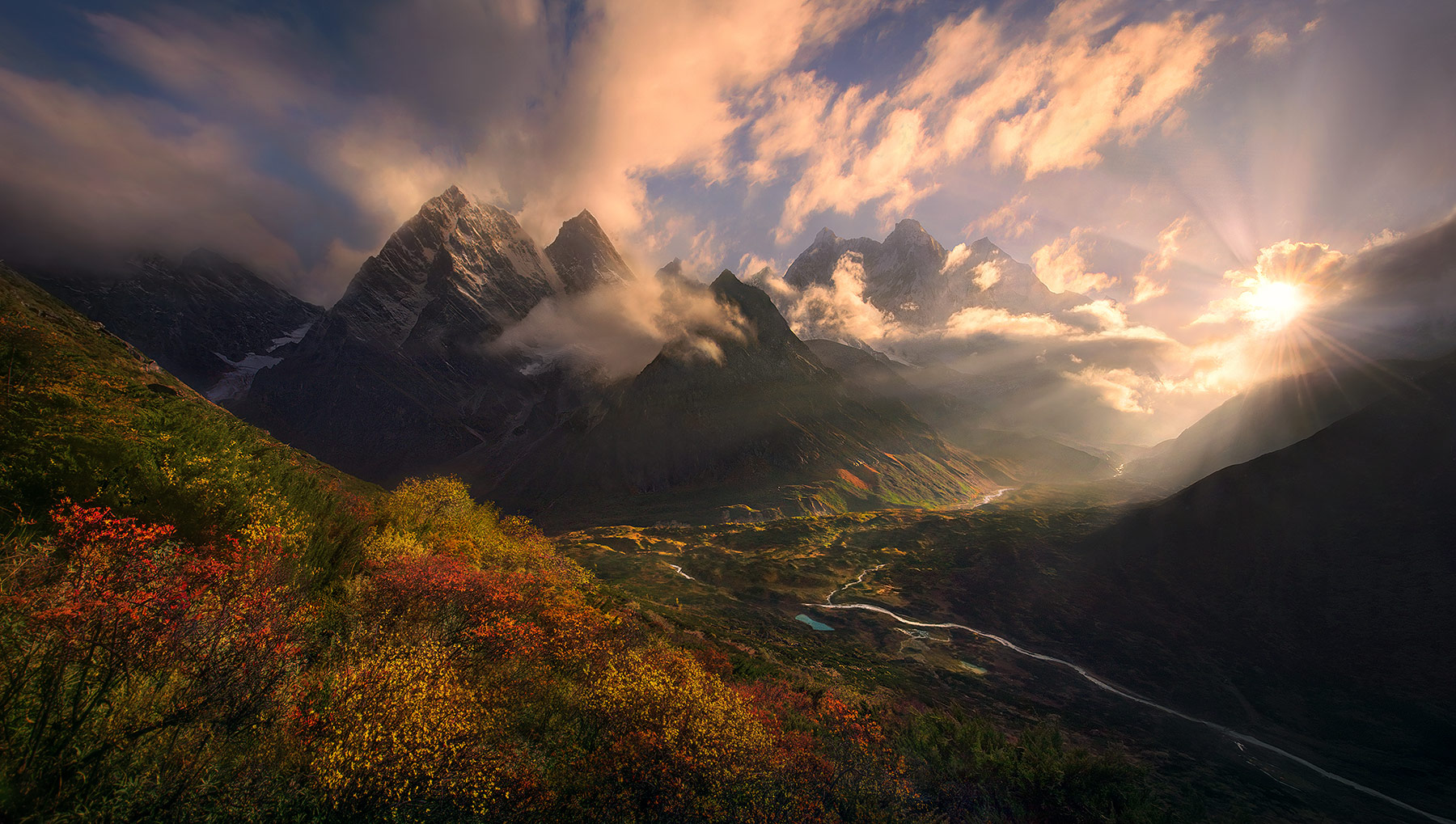 Makalu, himalaya, tibet, sunset, autumn, photo